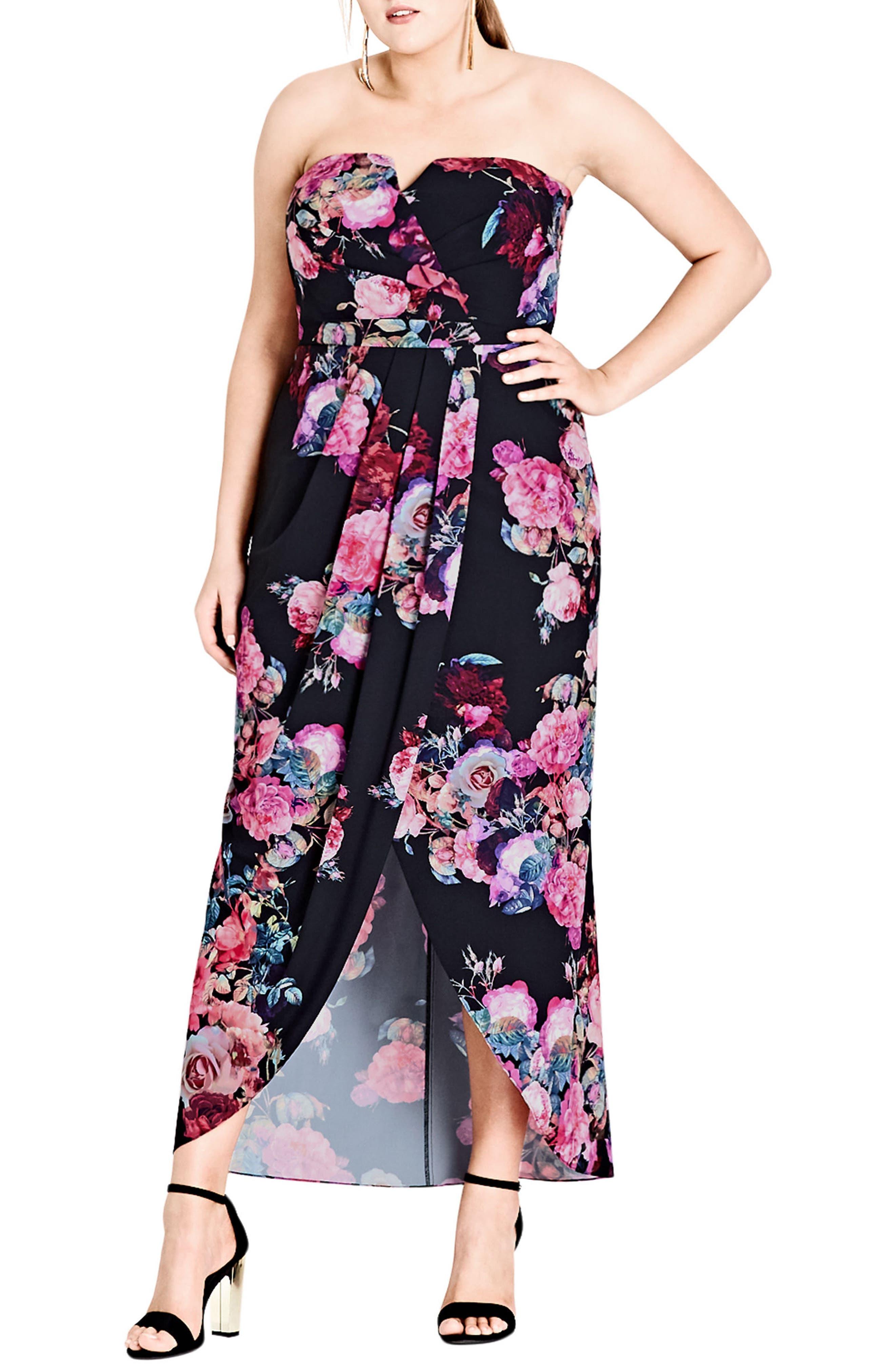 Main Image - City Chic Romantic Rose Strapless Maxi Dress (Plus Size)