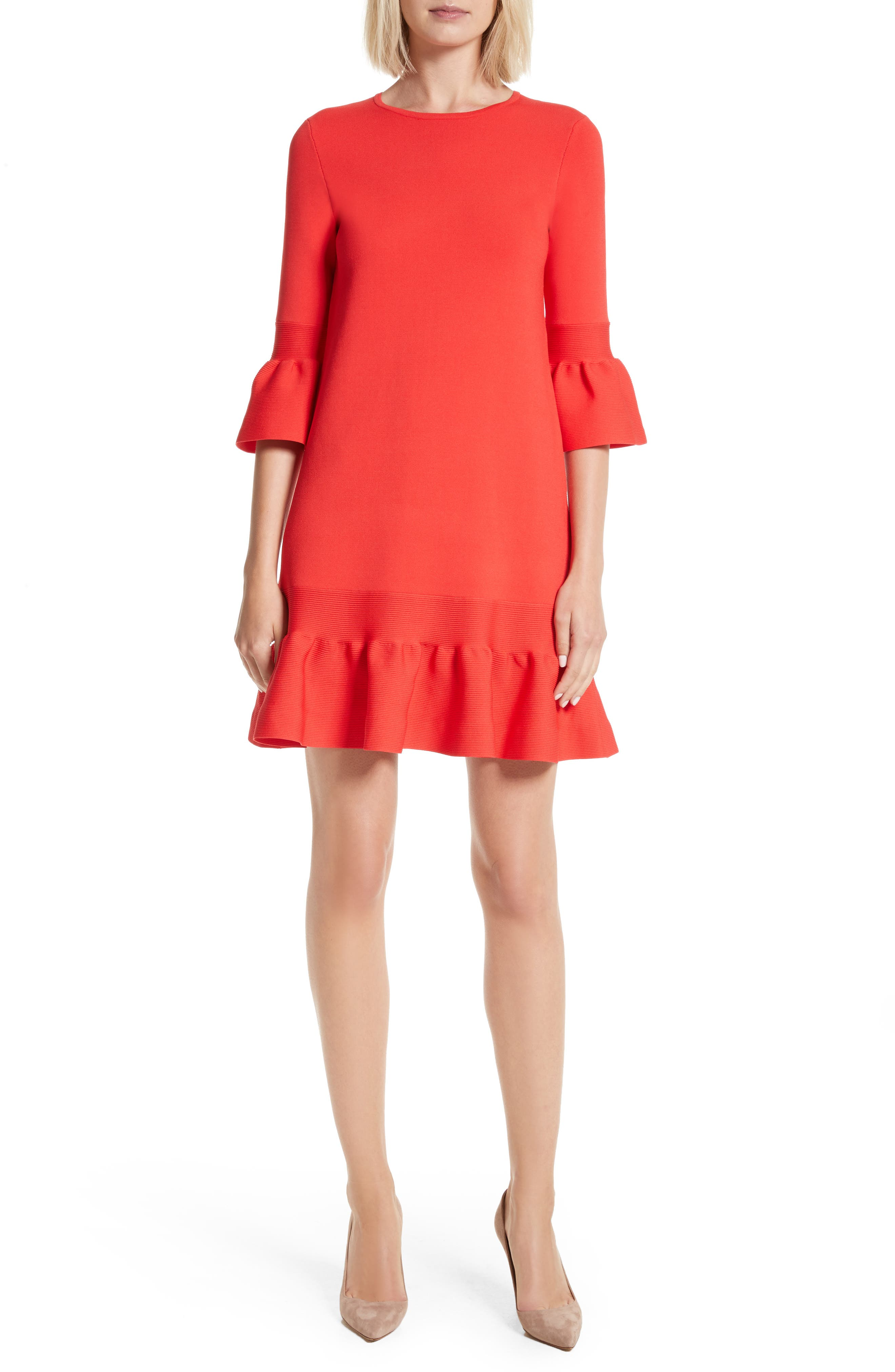 Tynia Peplum Ruffle Shift Dress,                             Main thumbnail 1, color,                             Bright Red