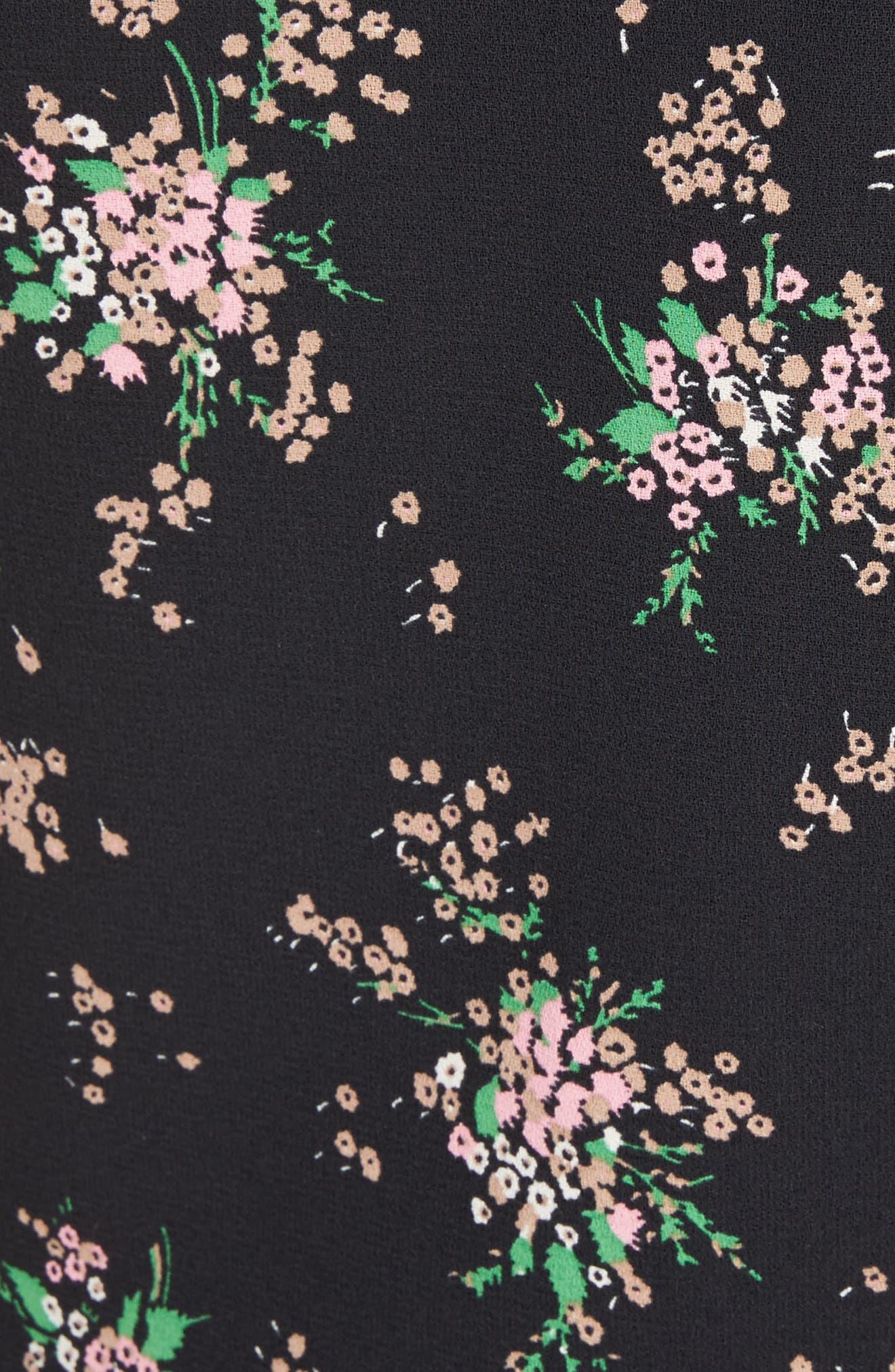 Ostrich Feather Trim Floral Print Dress,                             Alternate thumbnail 5, color,                             Black