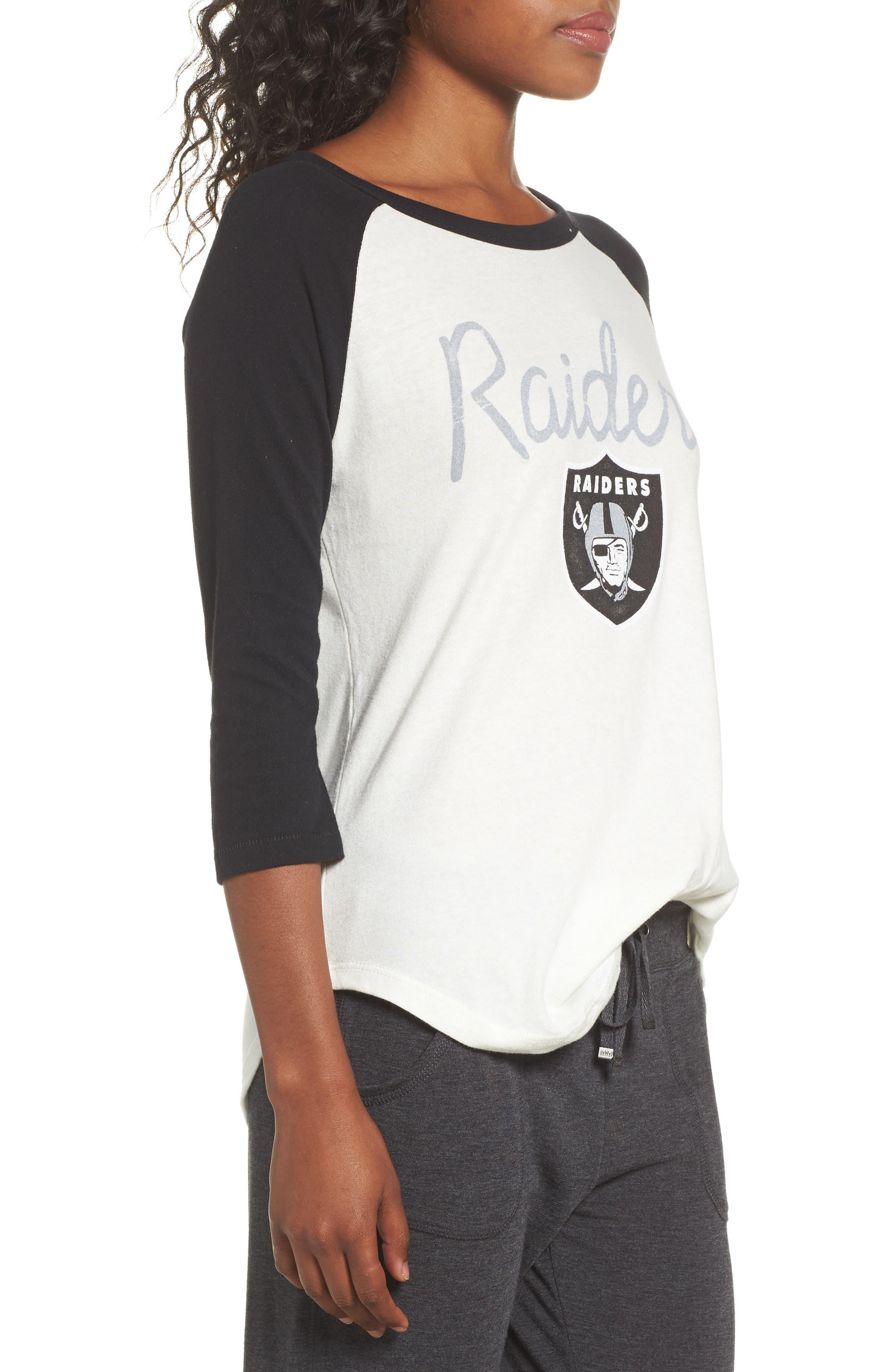 NFL Oakland Raiders Raglan Tee,                             Alternate thumbnail 3, color,                             Sugar/ True Black