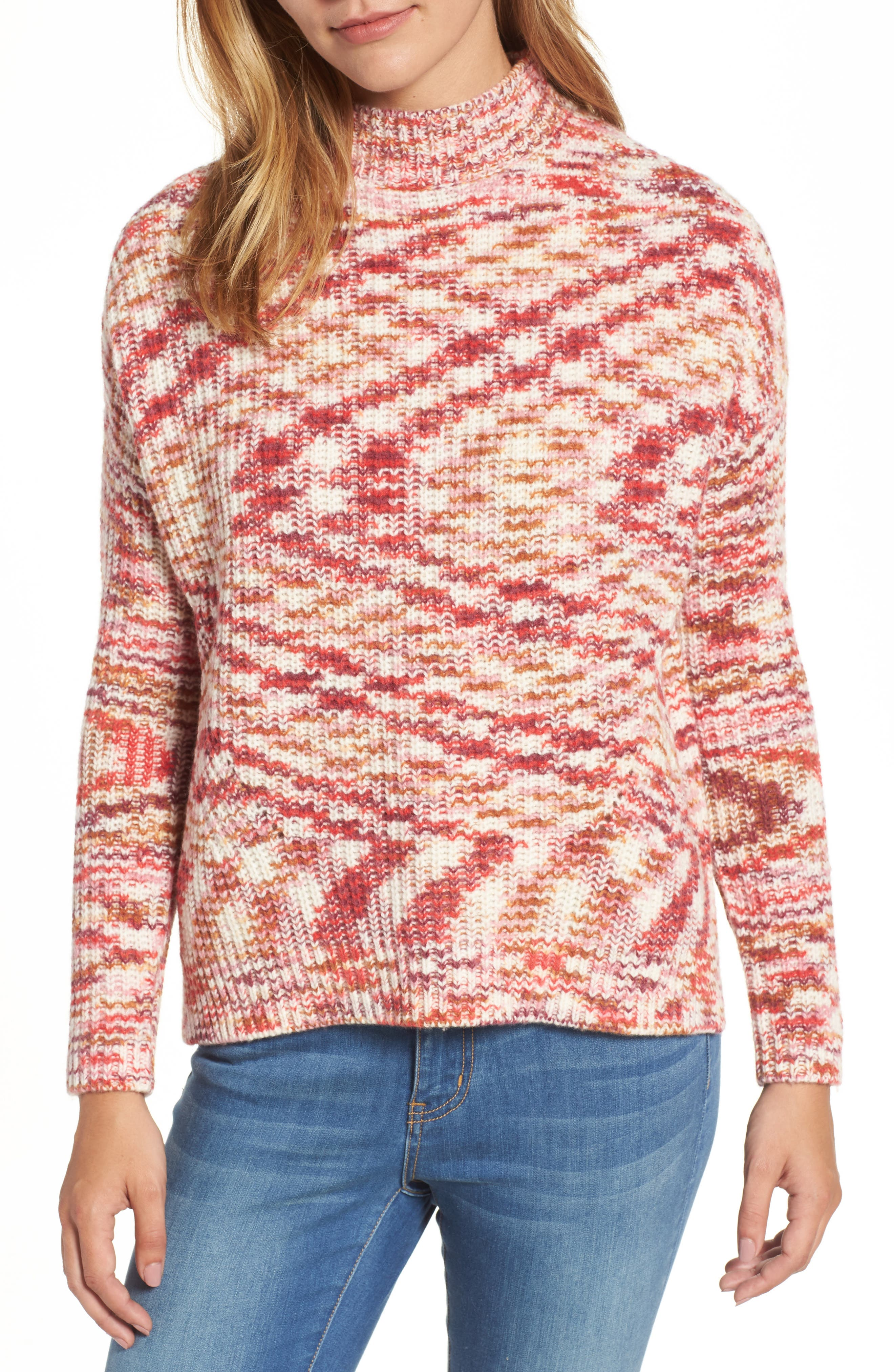 Mock Neck Sweater,                         Main,                         color, Sunburst