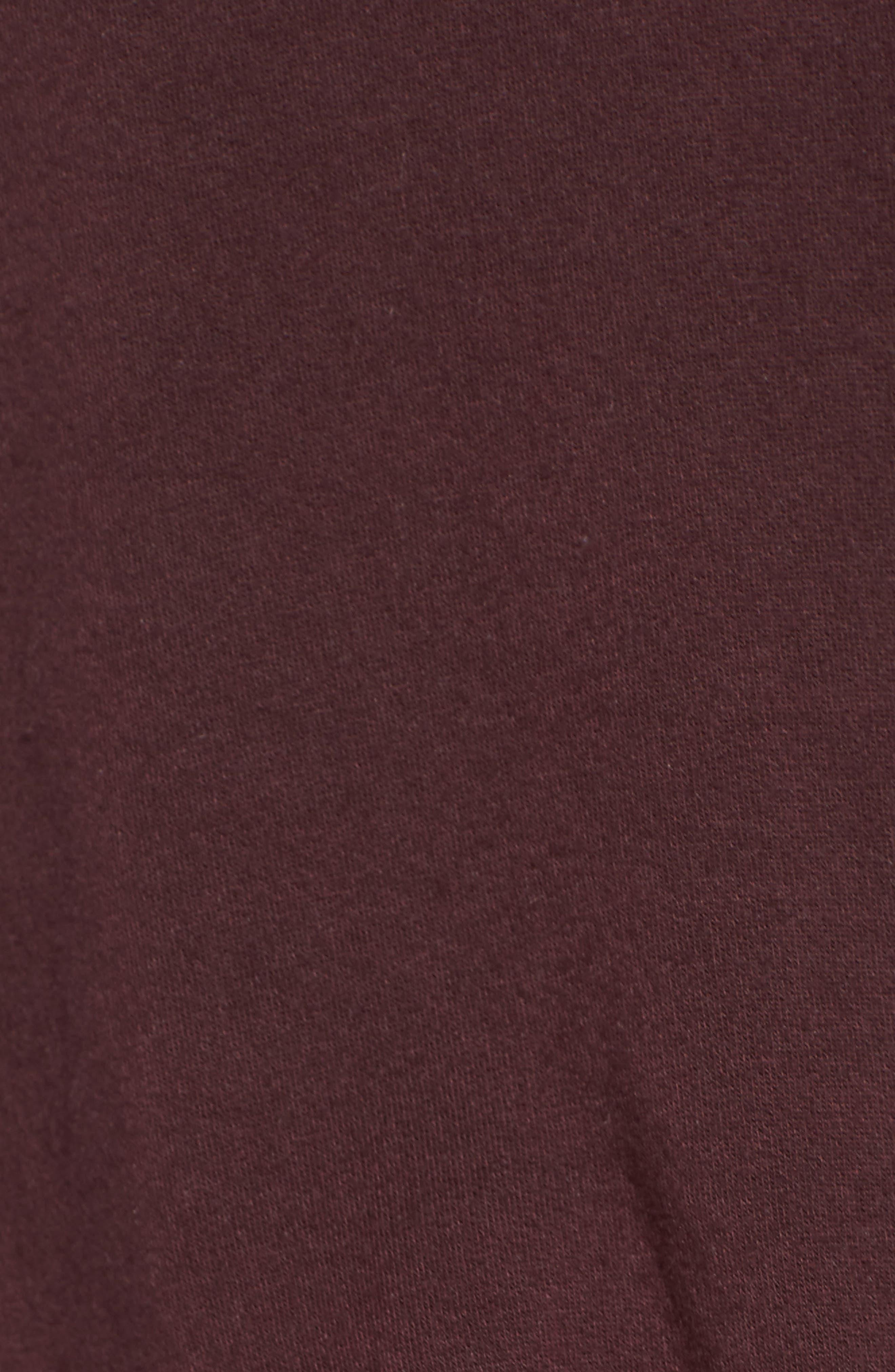 Twist Front Fleece Sweatshirt,                             Alternate thumbnail 5, color,                             Wine