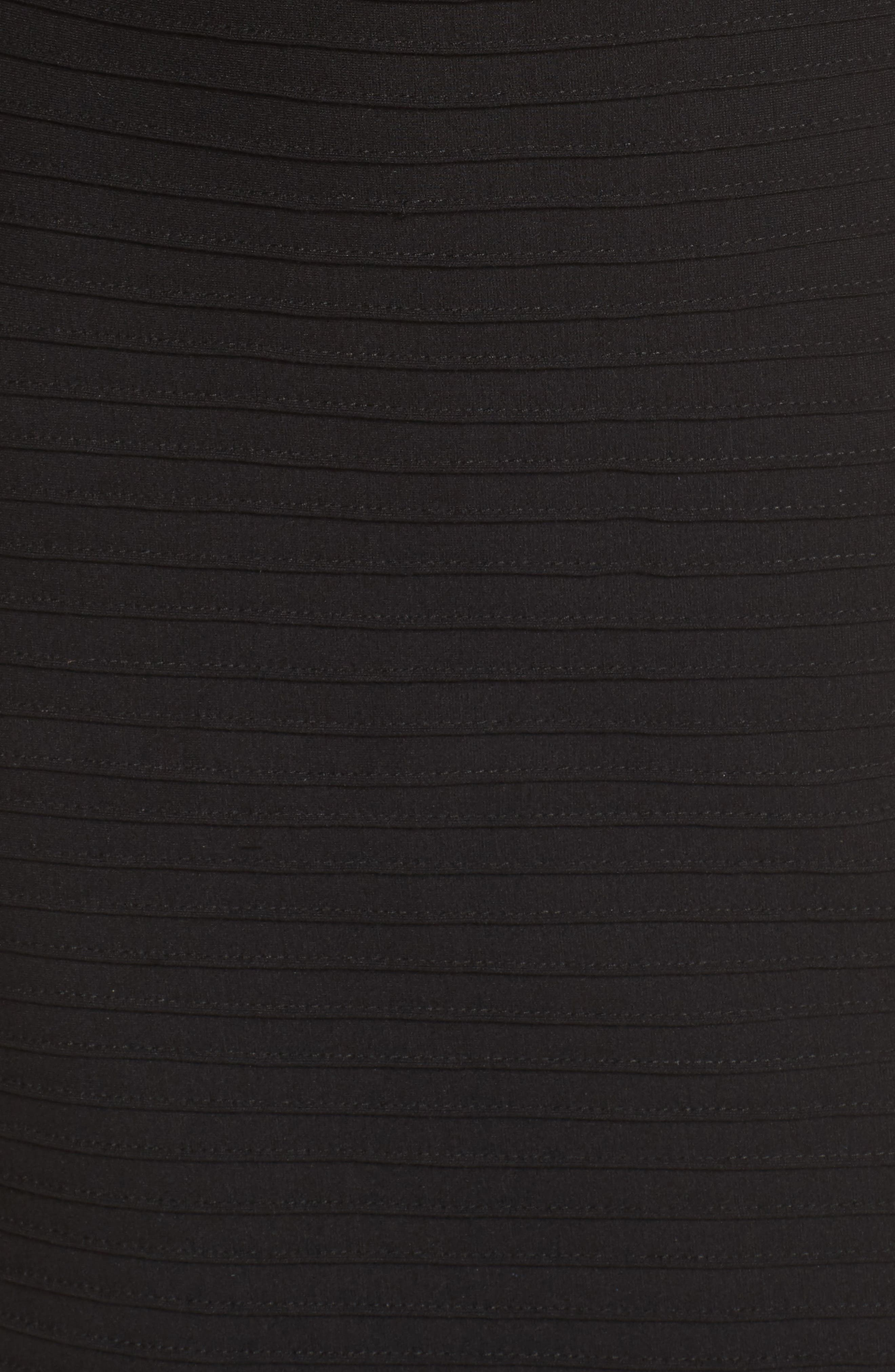 Pintuck Cold Shoulder Dress,                             Alternate thumbnail 5, color,                             Black