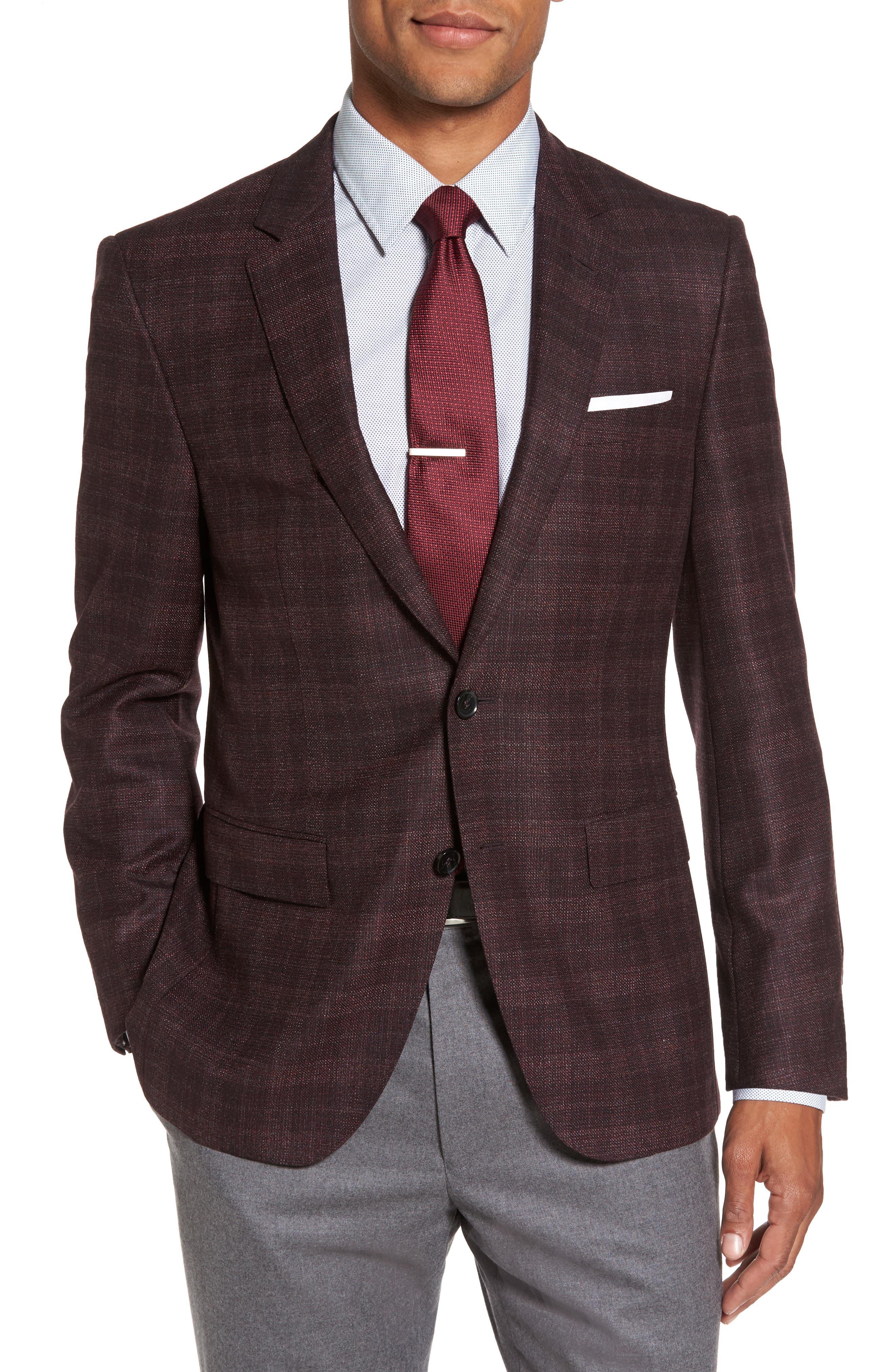 T-Heel Trim Fit Plaid Wool & Silk Sport Coat,                         Main,                         color, Dark Red