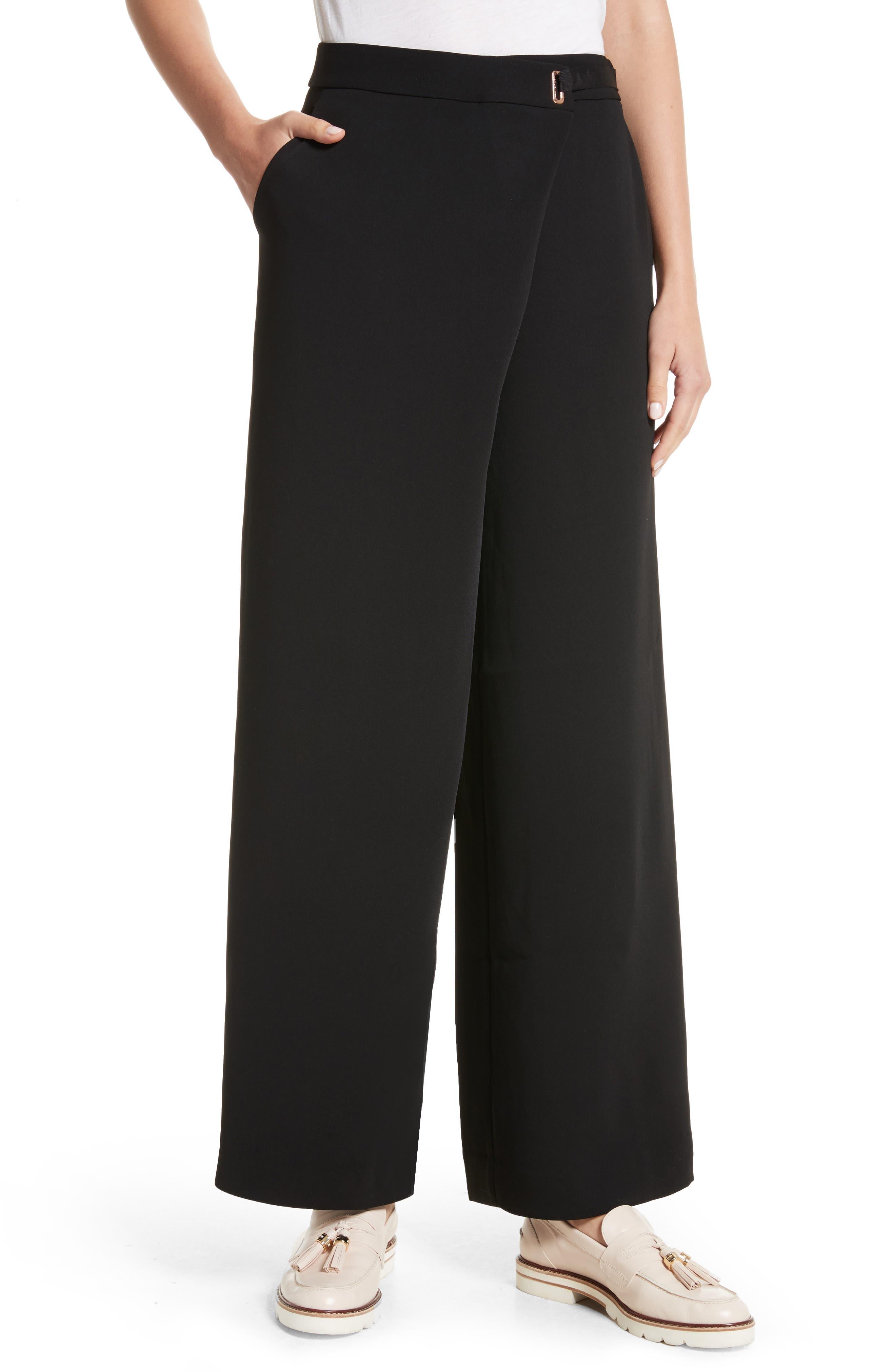 Yasin Wide Leg Wrap Front Trousers,                         Main,                         color, Black