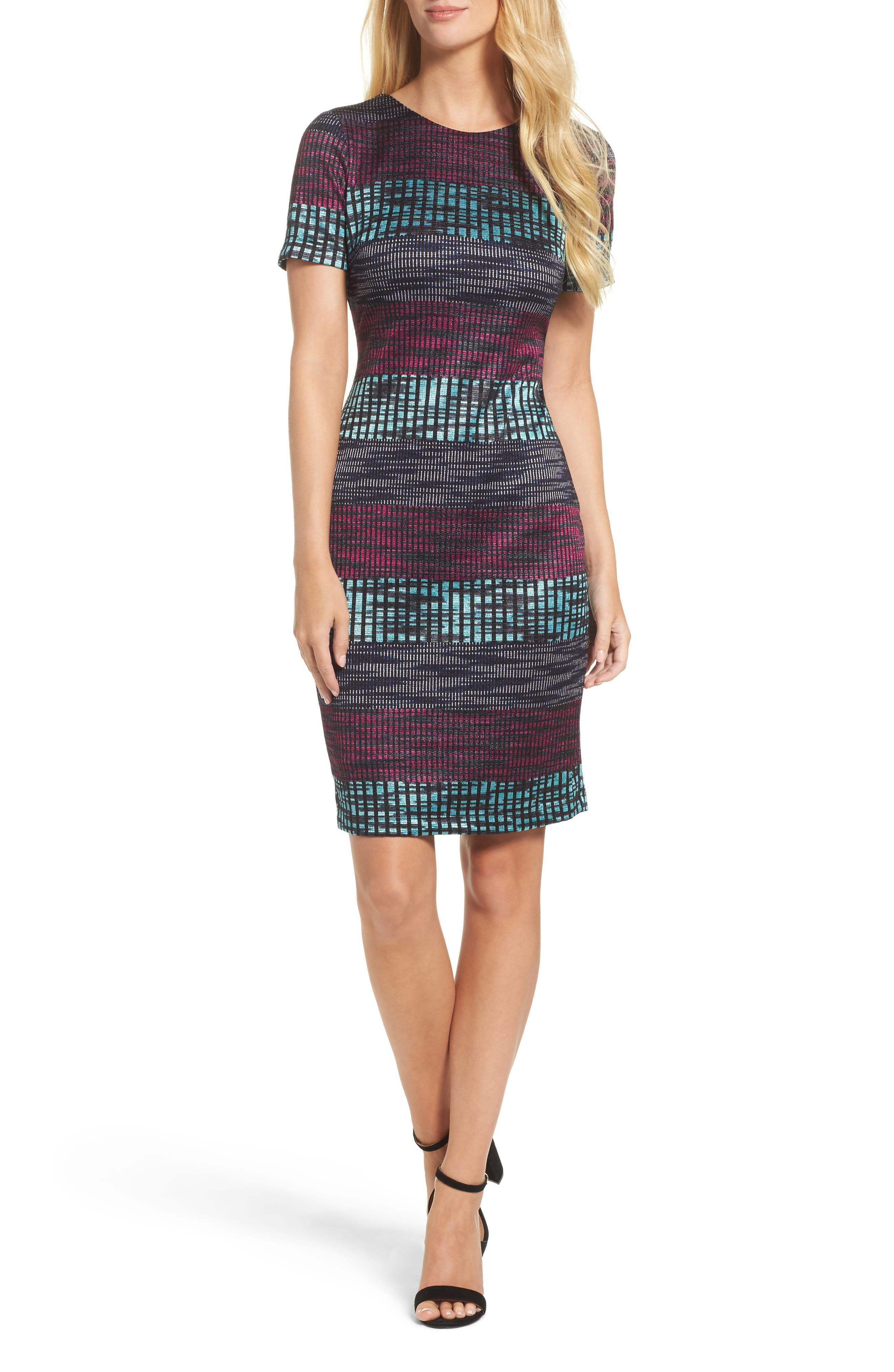 Ombré Knit Sheath Dress,                         Main,                         color, Raspberry/ Navy/ Aqua