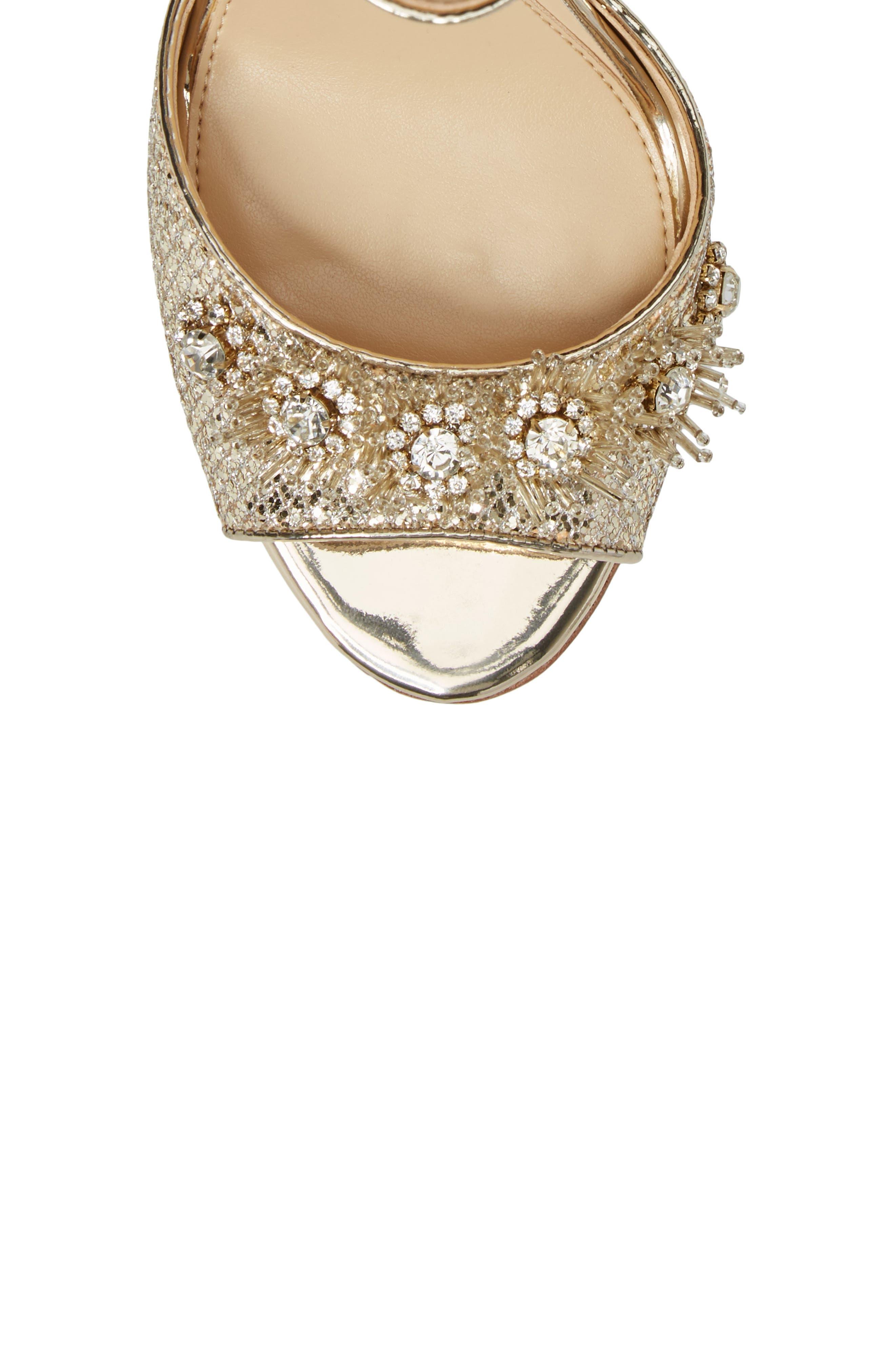 Prisca Embellished Sandal,                             Alternate thumbnail 5, color,                             Soft Gold