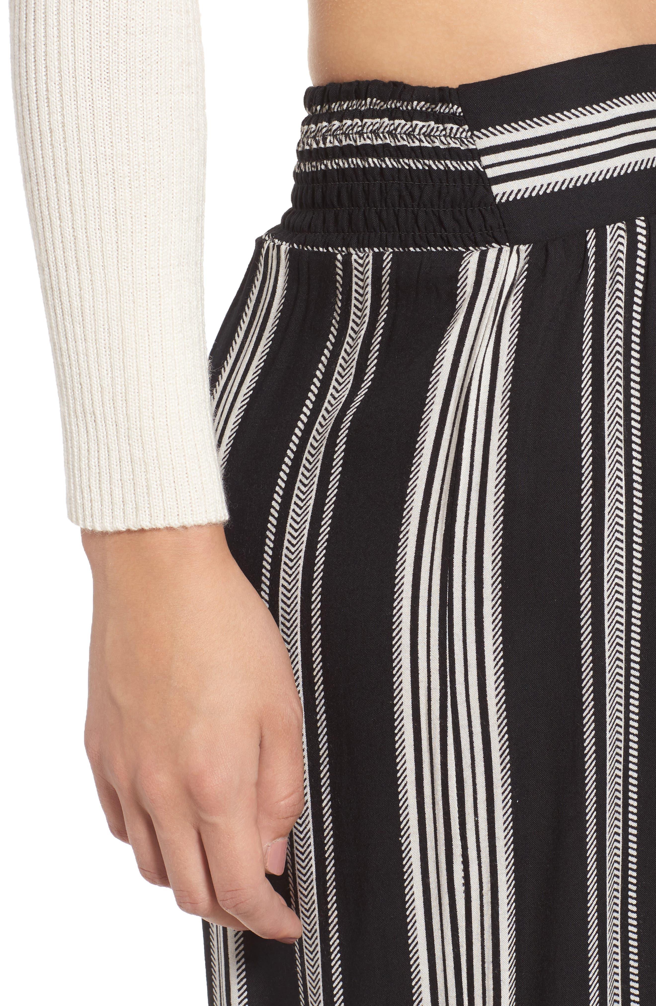 Herringbone Wide Leg Pants,                             Alternate thumbnail 4, color,                             887R-Black/ Ivory