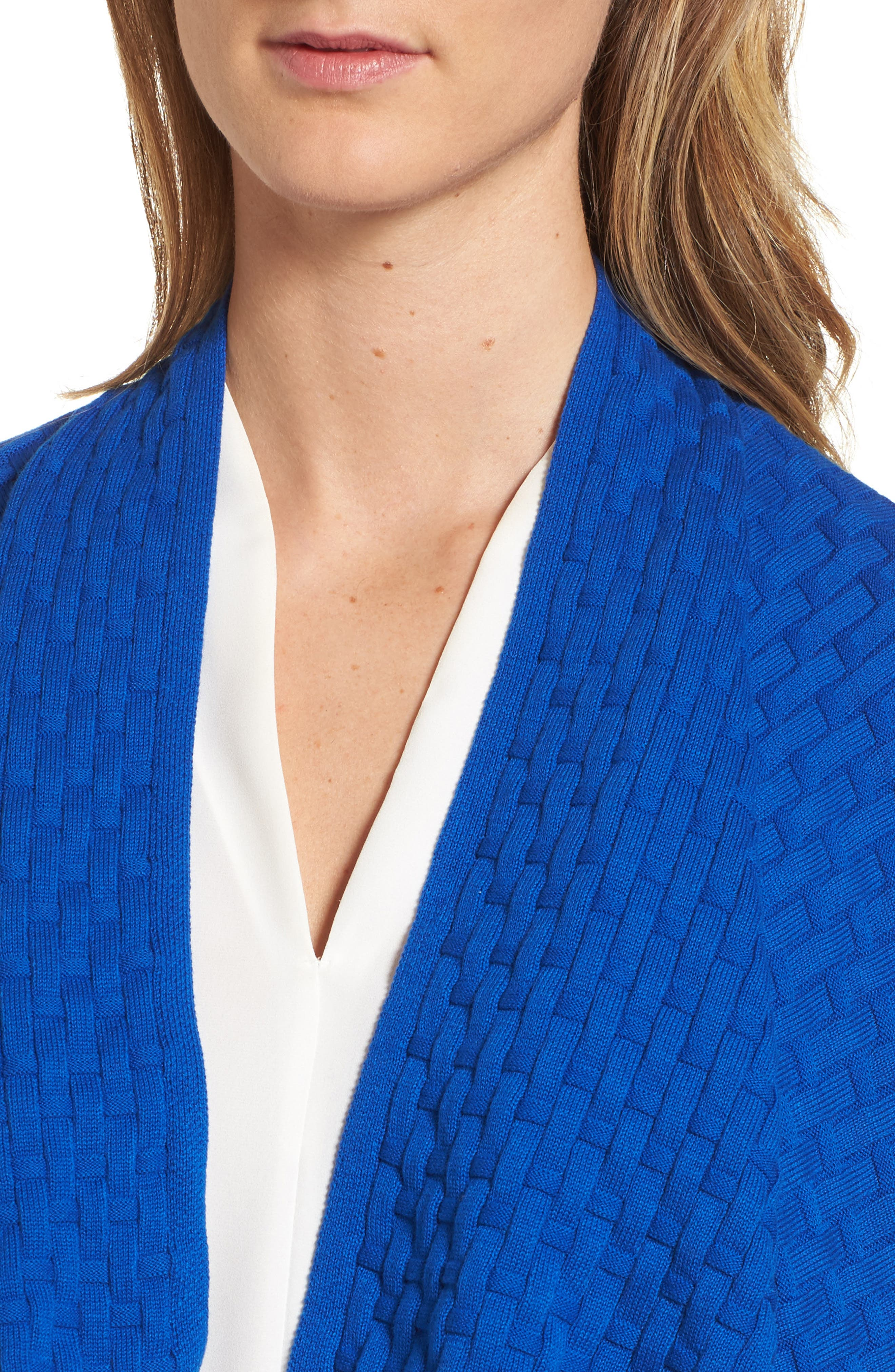 Mixed Cotton Knit Cardigan,                             Alternate thumbnail 4, color,                             Royal Cobalt