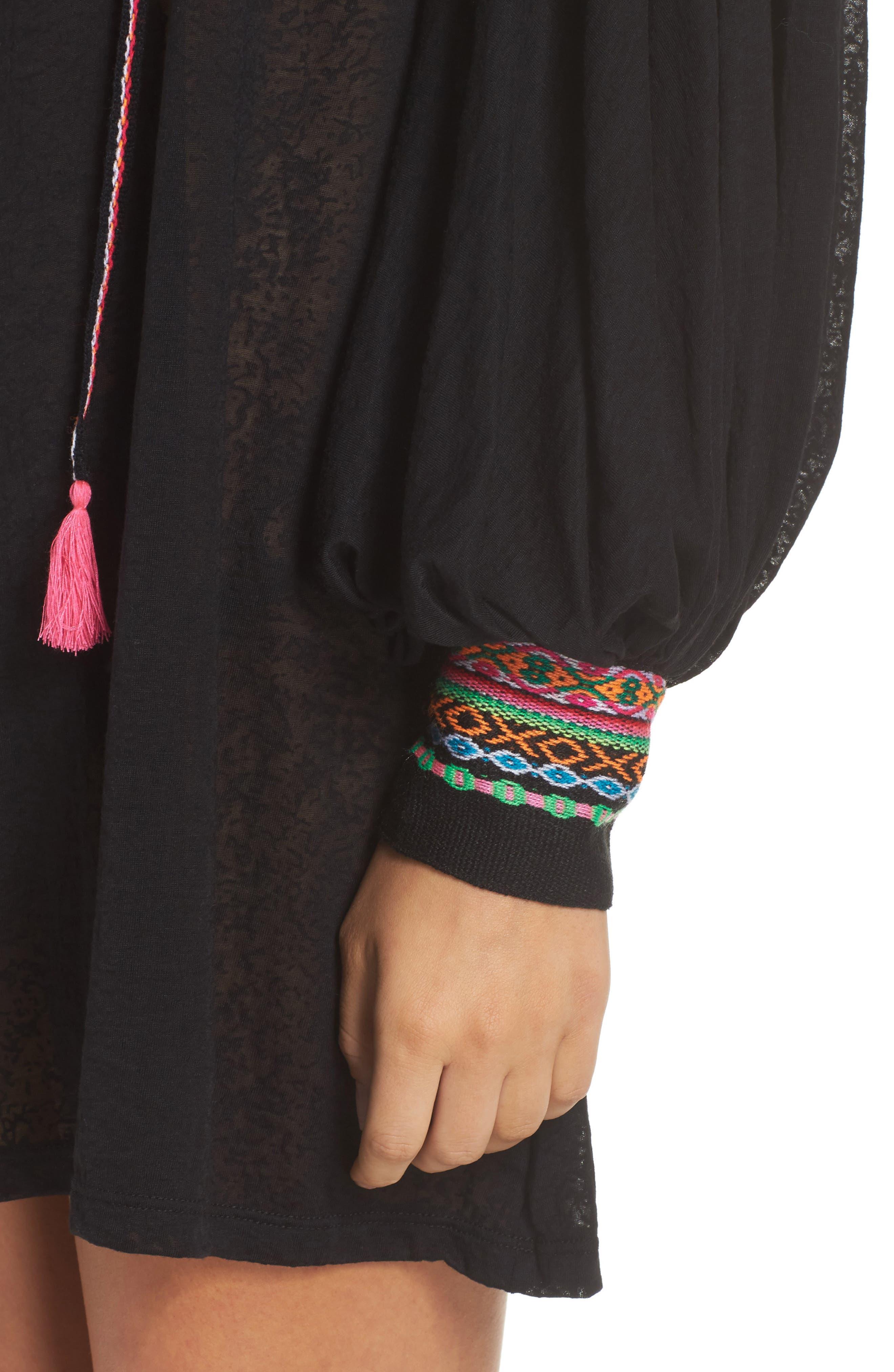 Inca Cover-Up Dress,                             Alternate thumbnail 4, color,                             Black