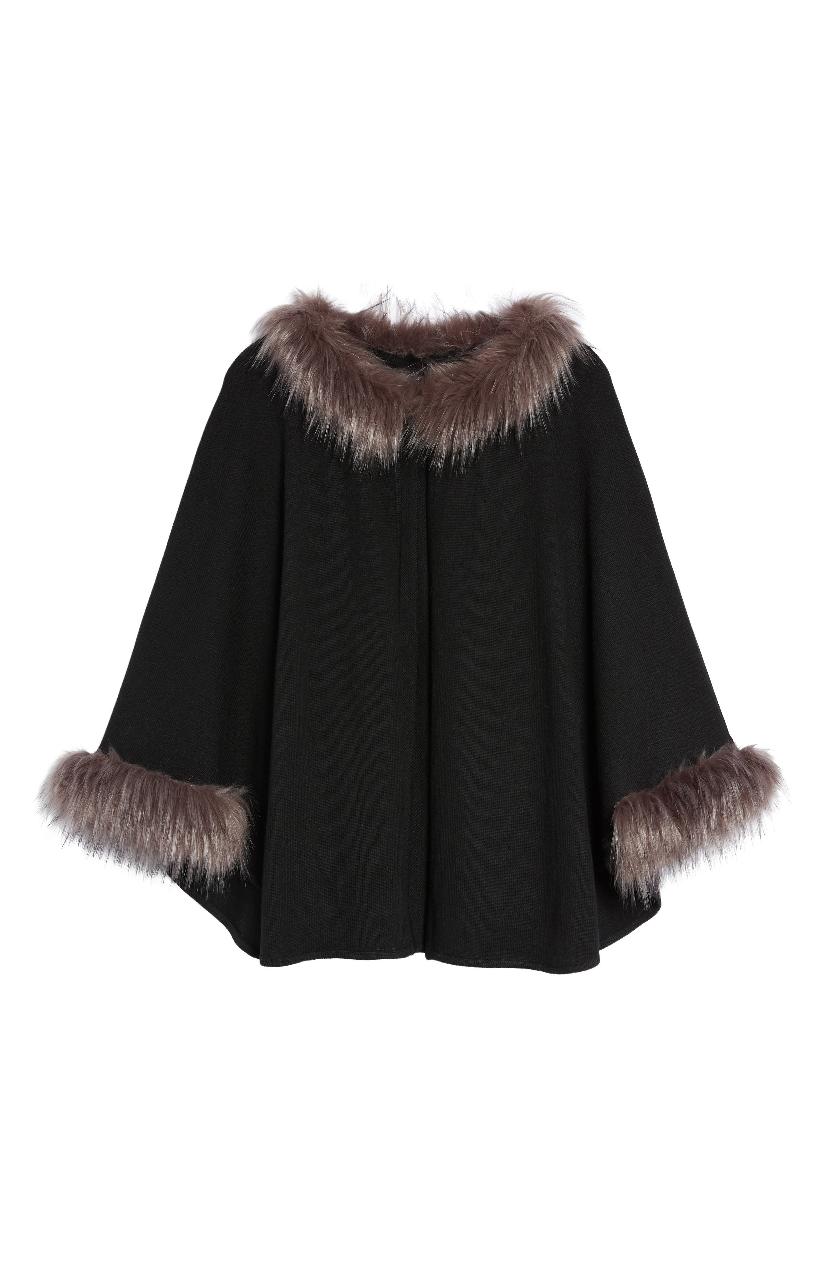 Alternate Image 5  - Love Token Knit Poncho with Faux Fur Trim