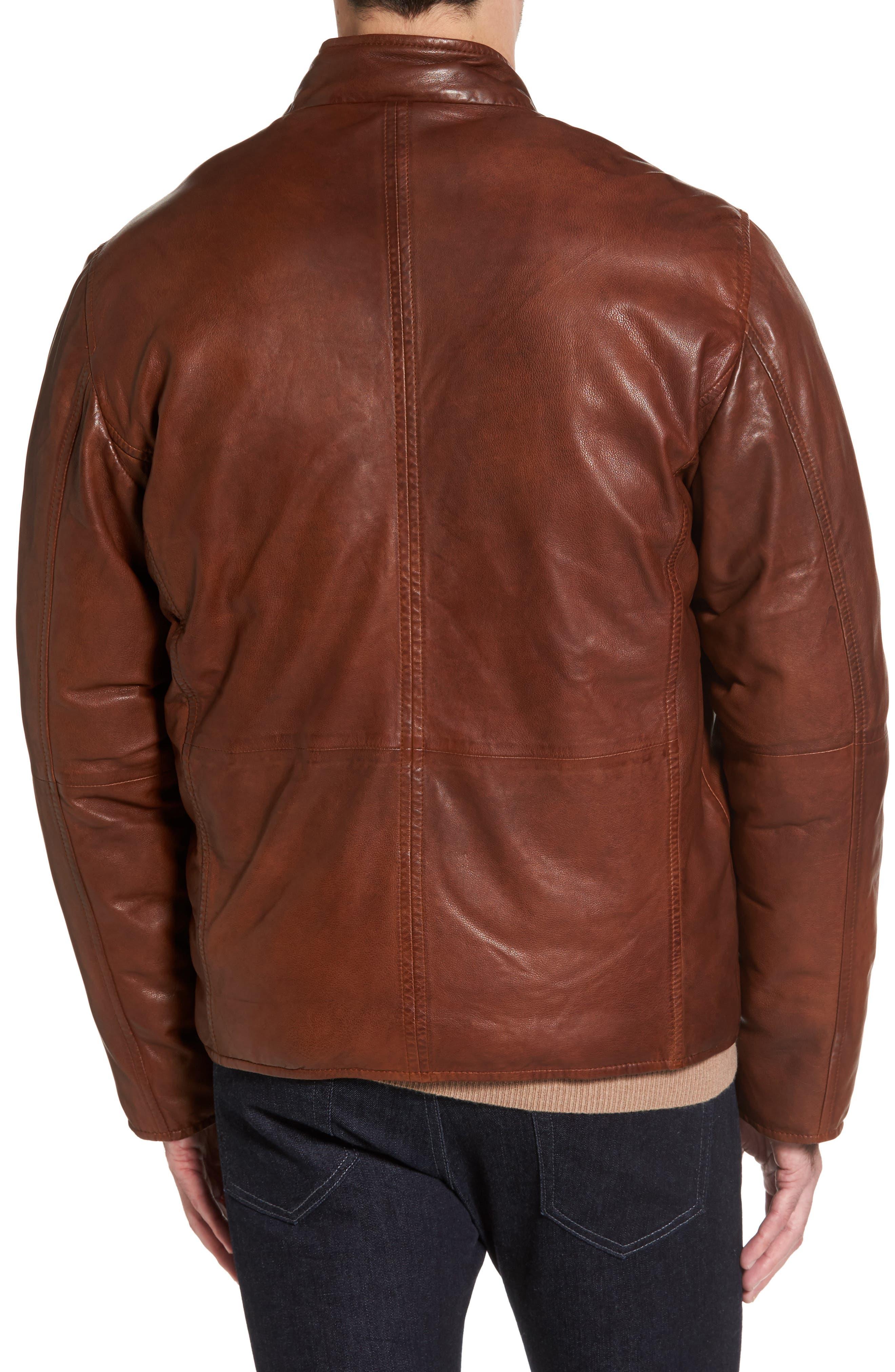 Reversible Washed Leather Jacket,                             Alternate thumbnail 3, color,                             Cognac
