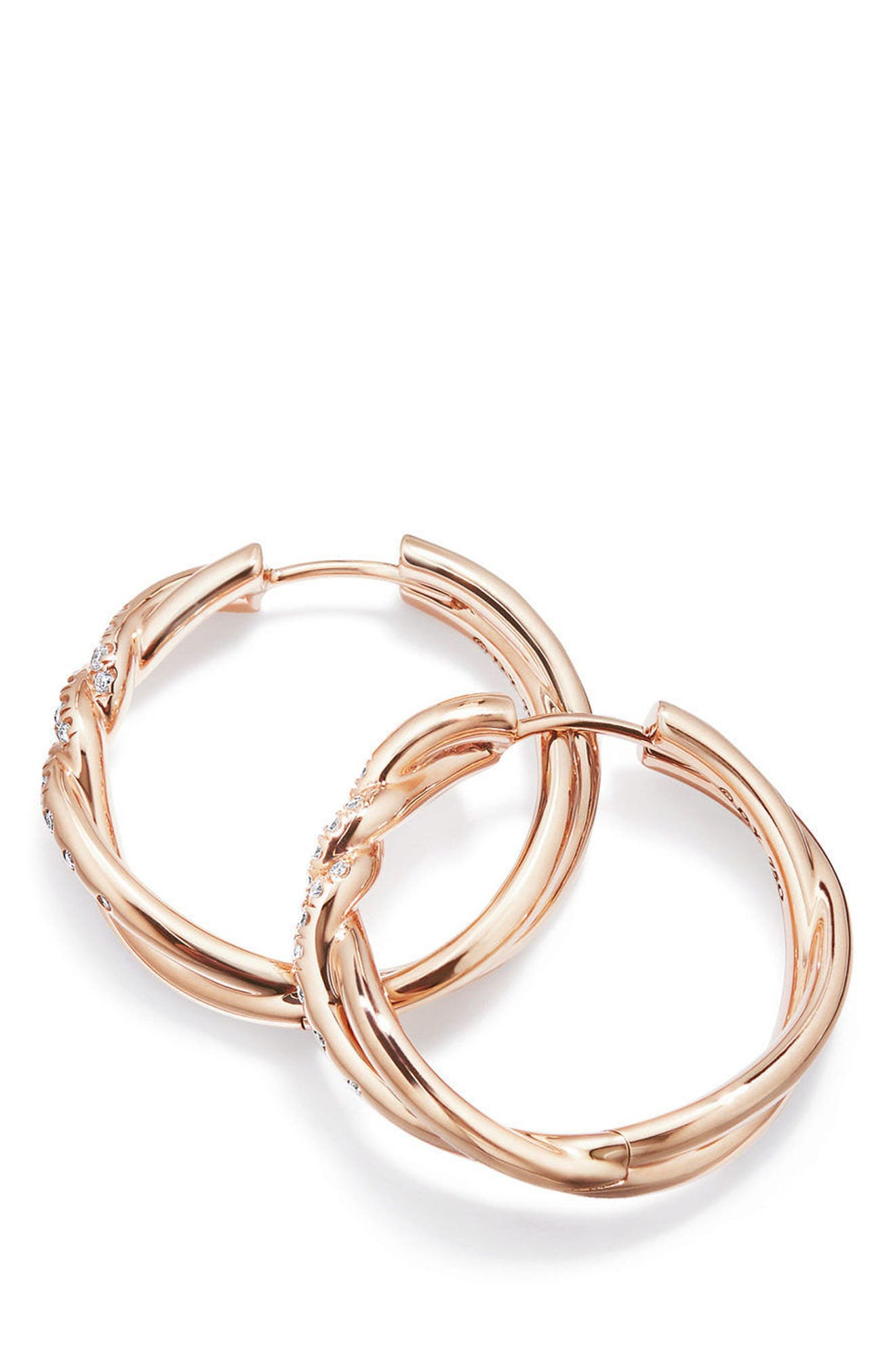 Continuance Hoop Earrings,                         Main,                         color, Rose Gold/ Diamond