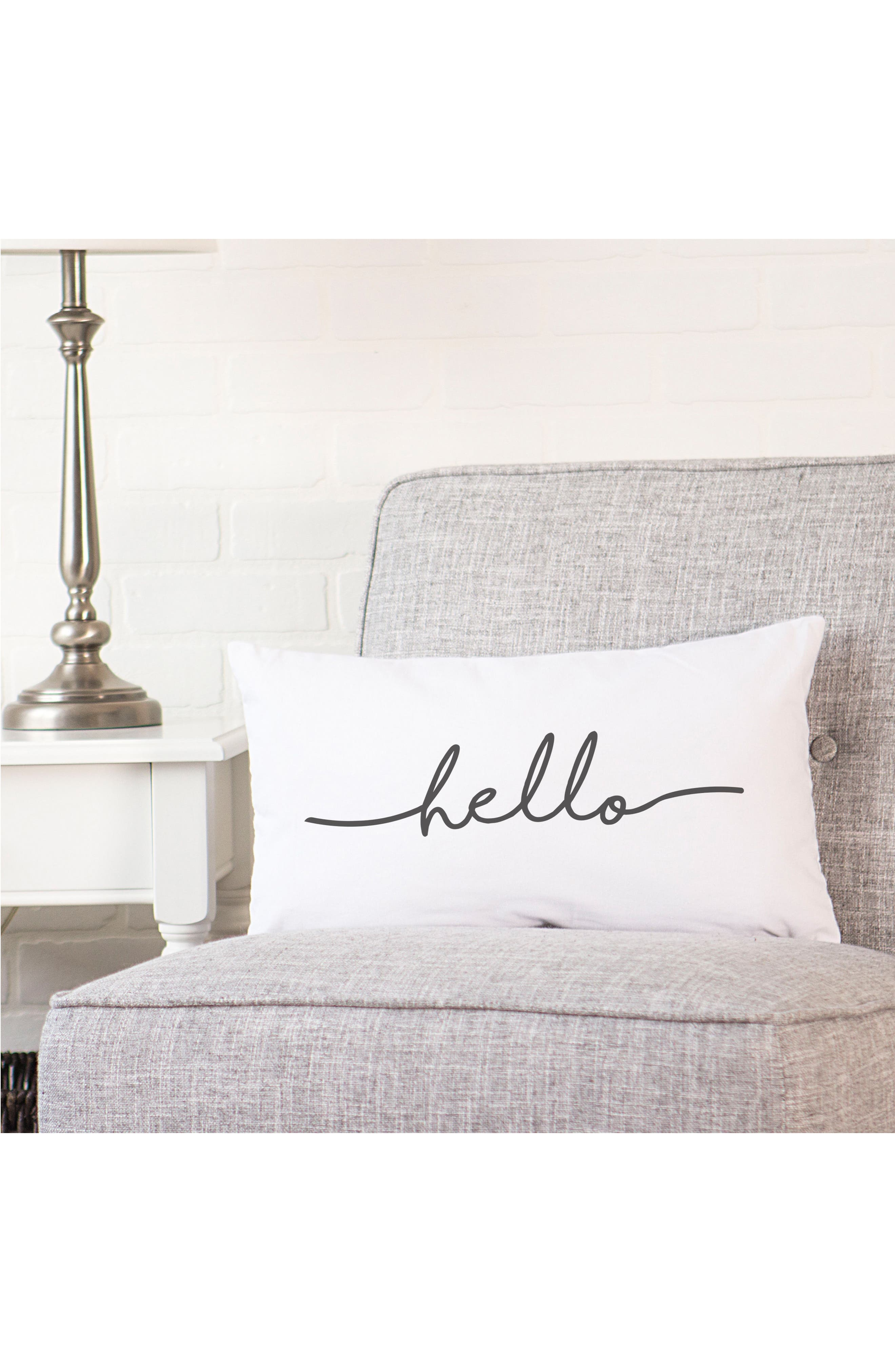 Hello Lumbar Accent Pillow,                             Alternate thumbnail 2, color,                             Grey
