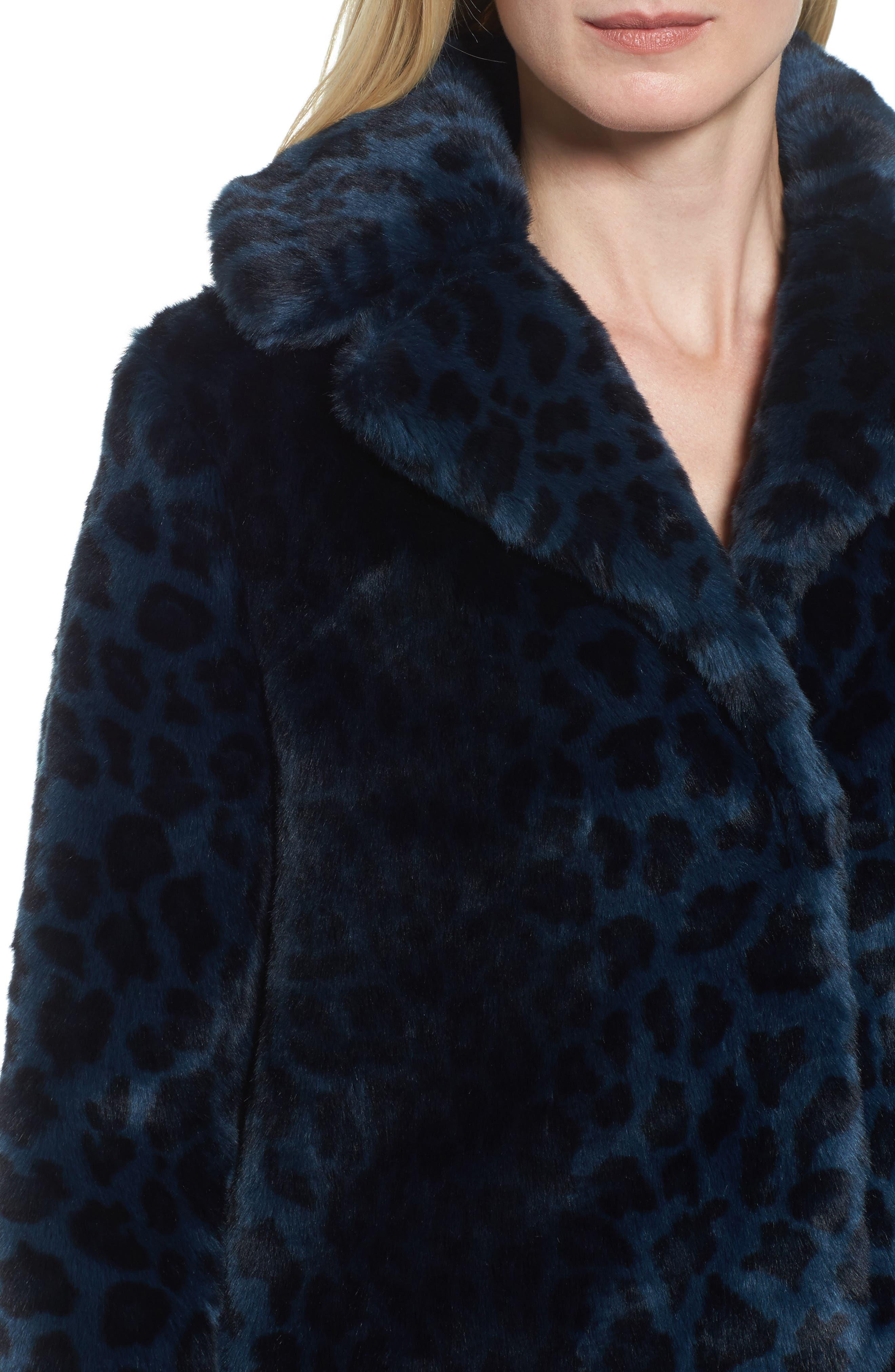 Reversible Cheetah Print Faux Fur Jacket,                             Alternate thumbnail 4, color,                             Navy