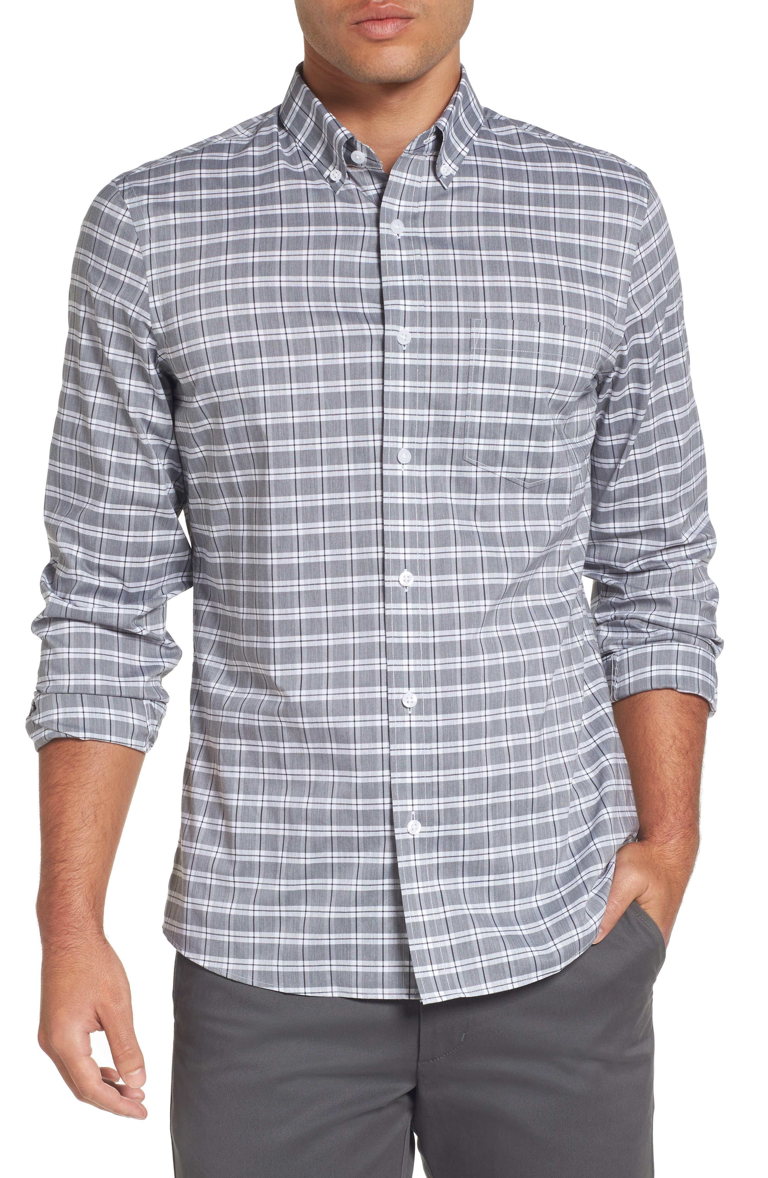 Trim Fit Tech-Smart Heather Check Sport Shirt,                         Main,                         color, Grey Shade Heather Check
