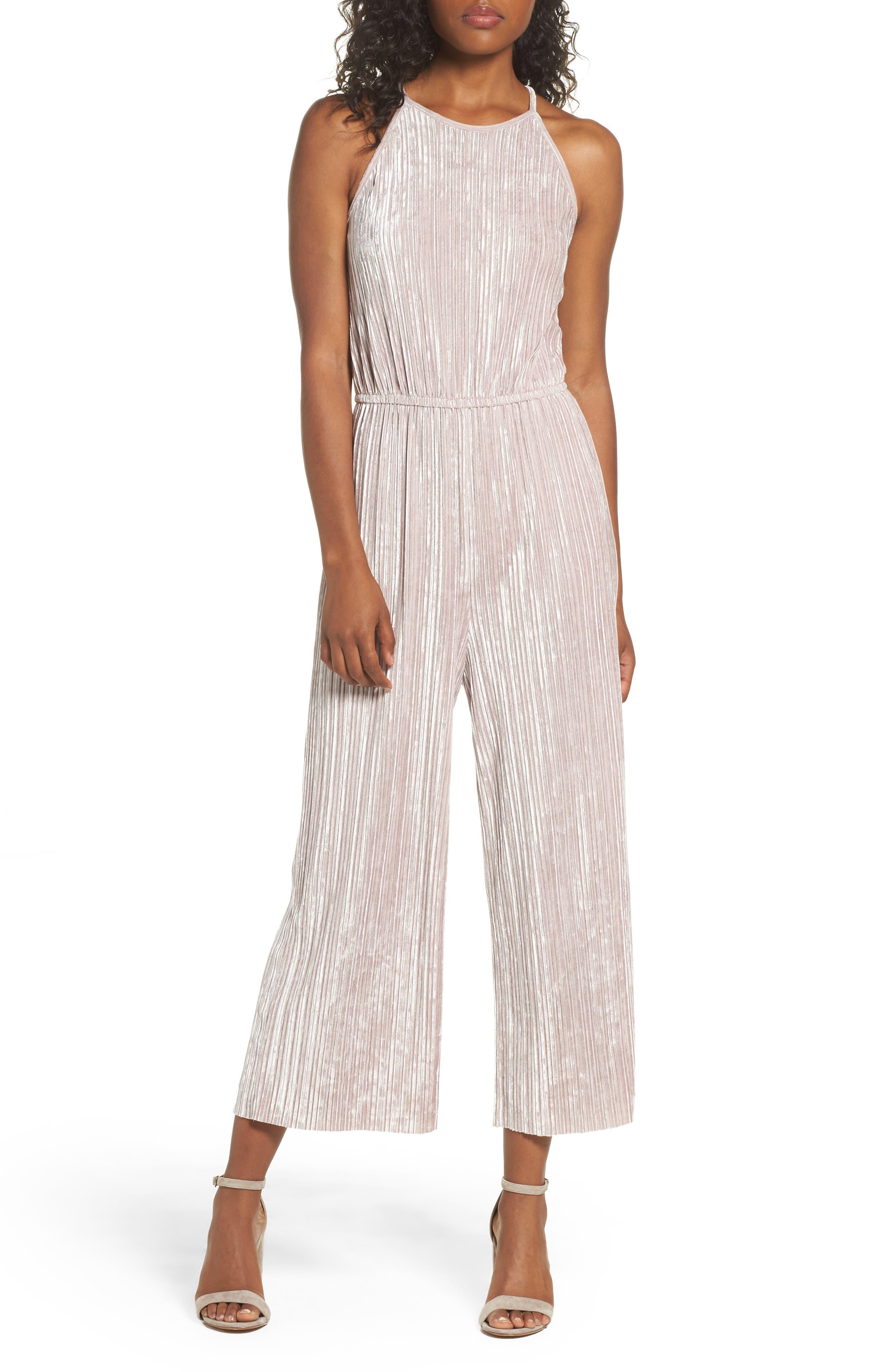 Pleated Velvet Jumpsuit,                         Main,                         color, Taupe
