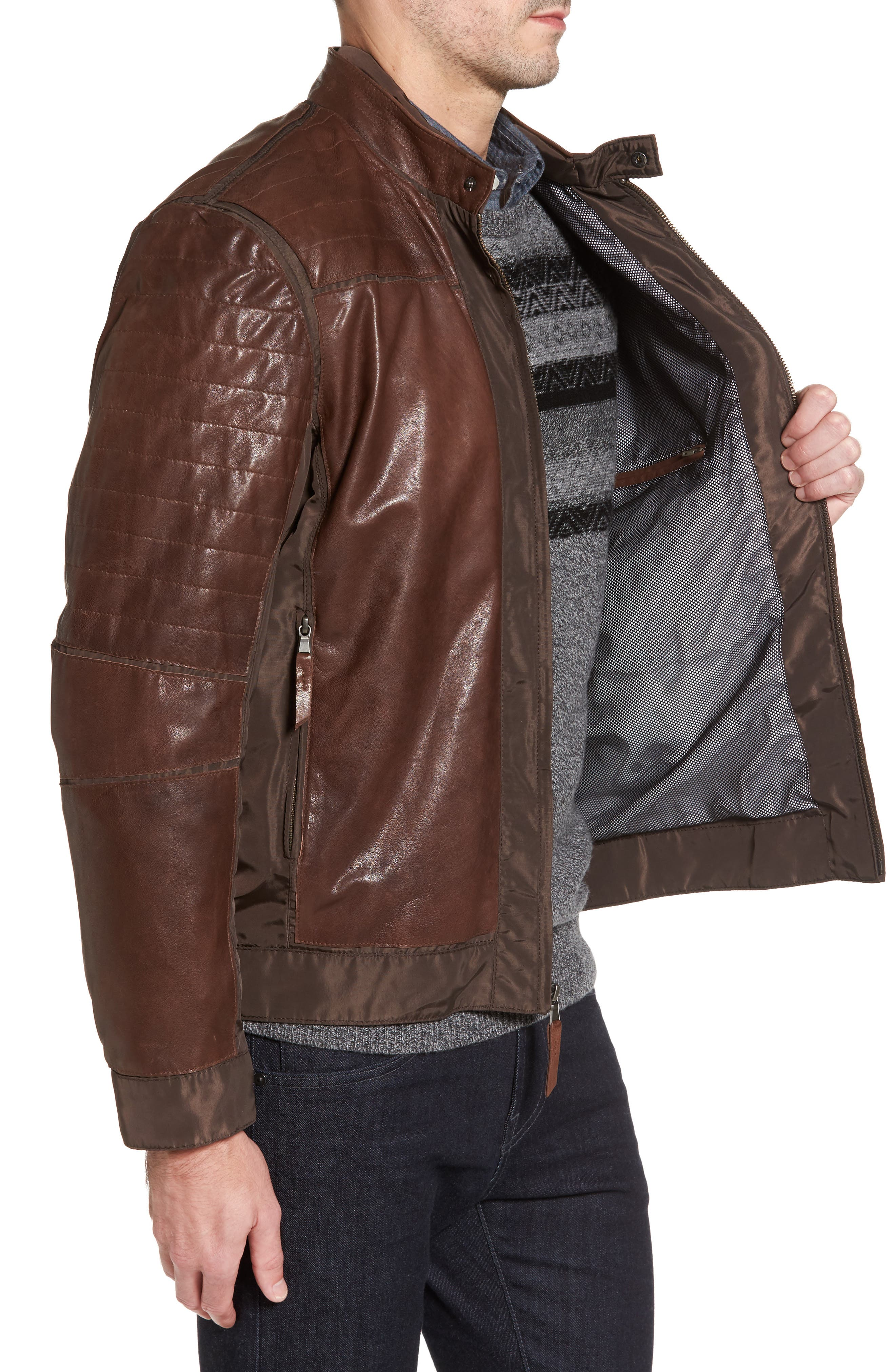 Leather Panel Nylon Jacket,                             Alternate thumbnail 3, color,                             Brown