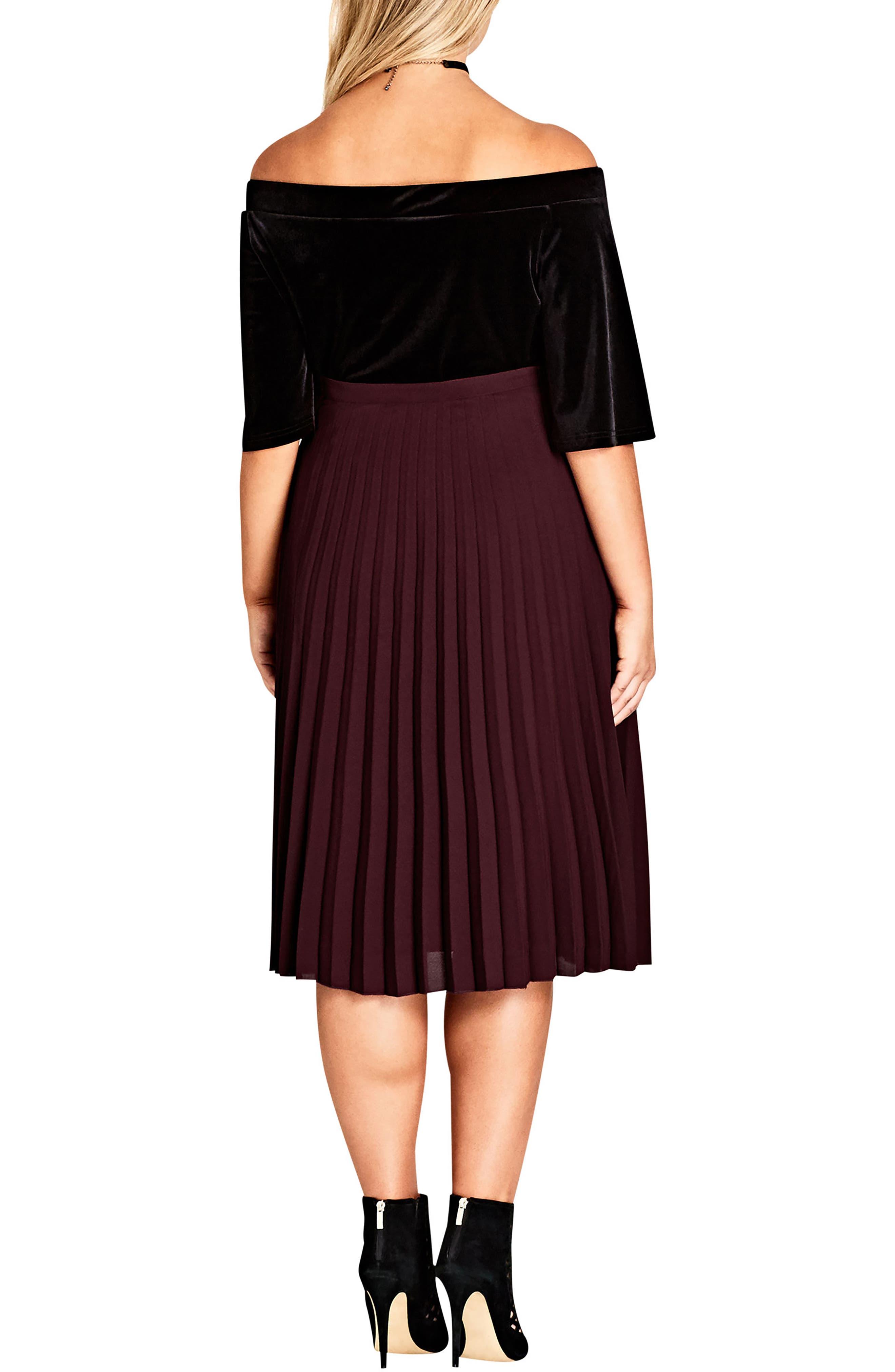 Alternate Image 2  - City Chic Sheer Pleat Skirt (Plus Size)