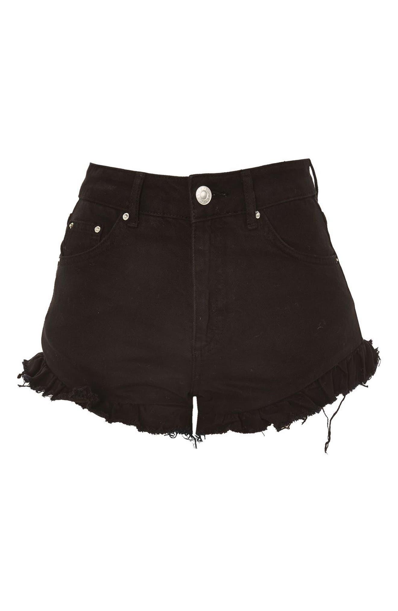 Kiri Ruffle Hem Denim Shorts,                             Alternate thumbnail 4, color,                             Washed Black