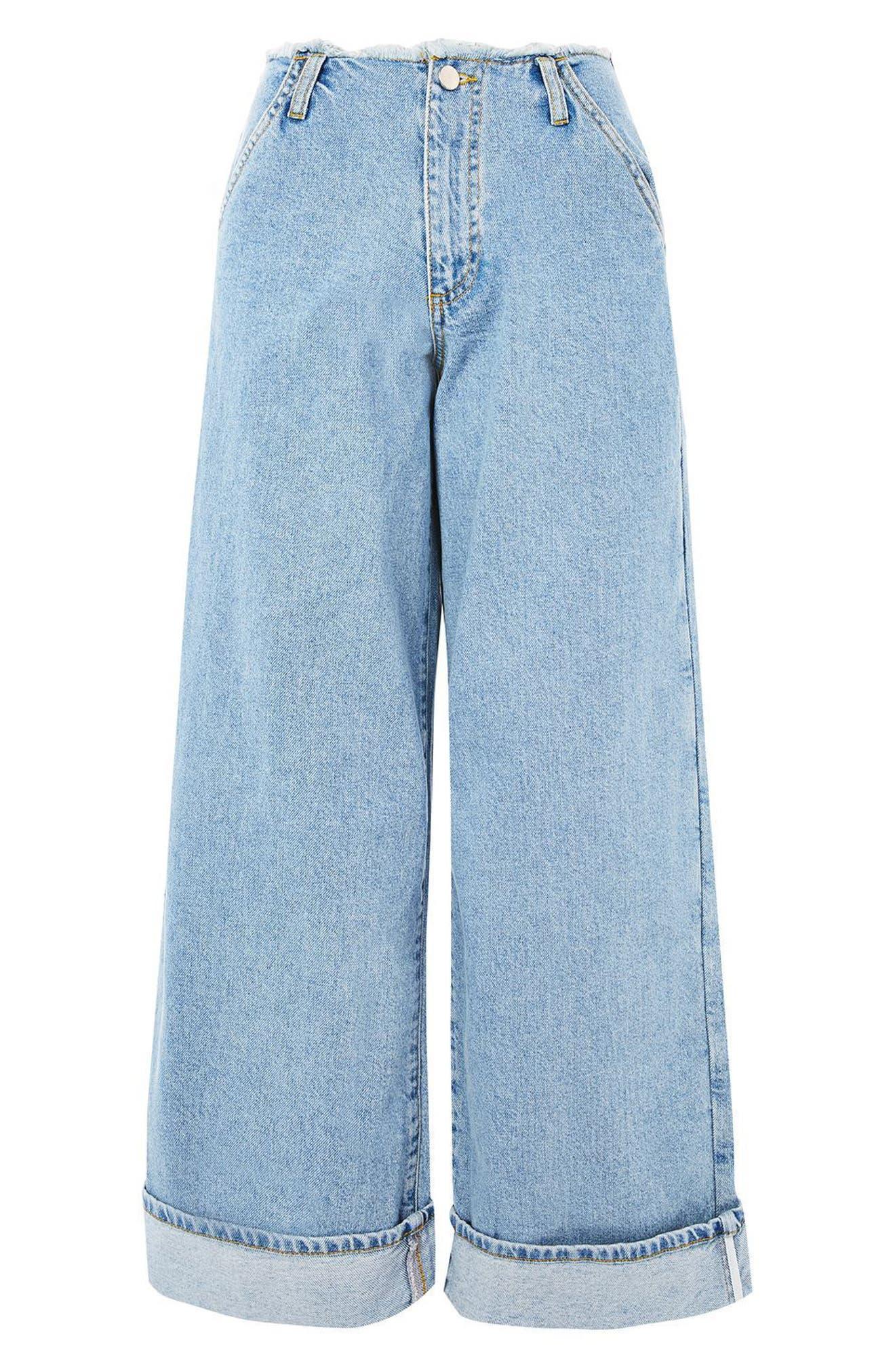Alternate Image 5  - Topshop Boutique Frayed Waist Super Wide Leg Jeans