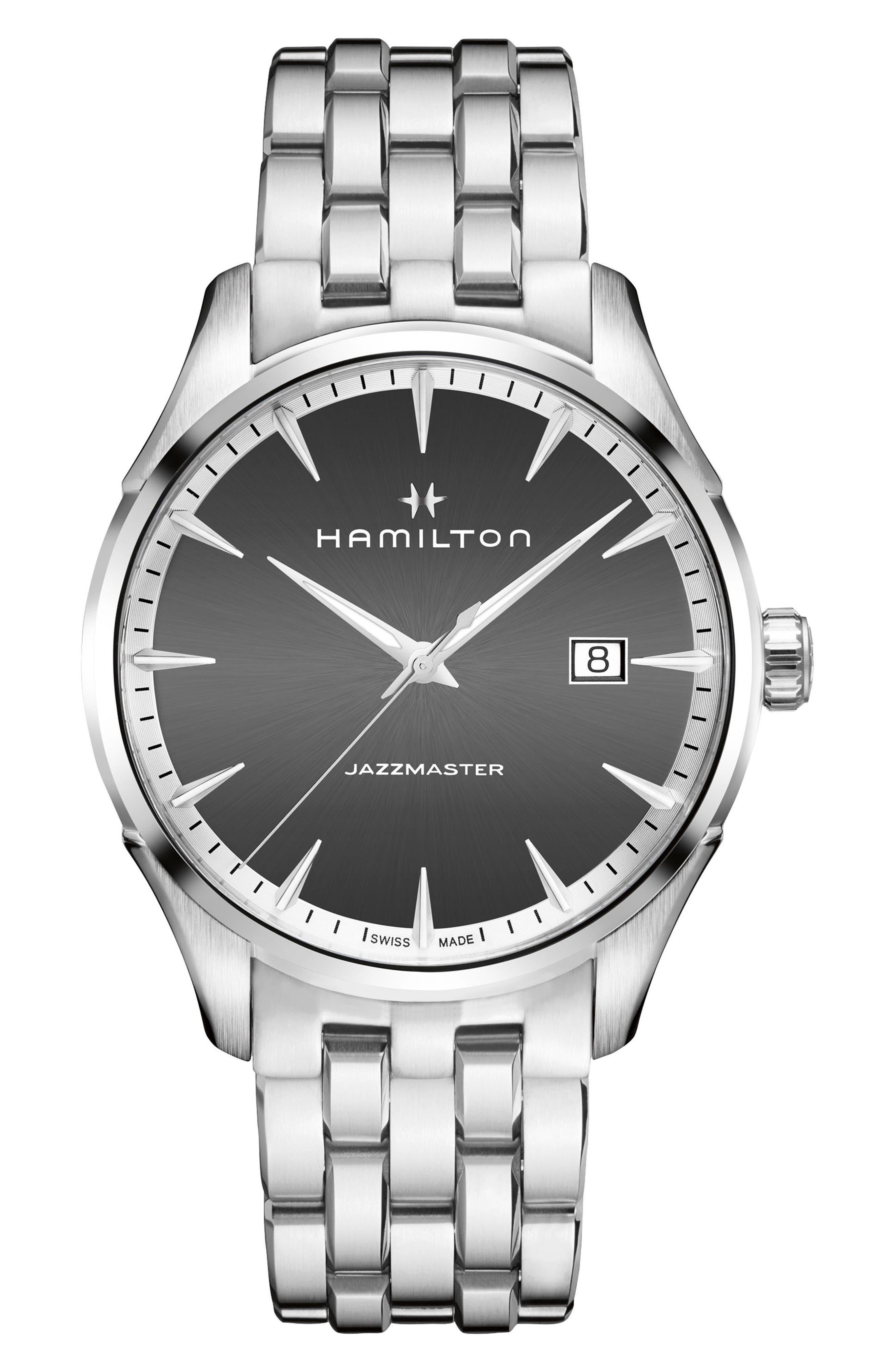 Jazzmaster Bracelet Watch, 40mm,                             Main thumbnail 1, color,                             Silver/ Grey/ Silver