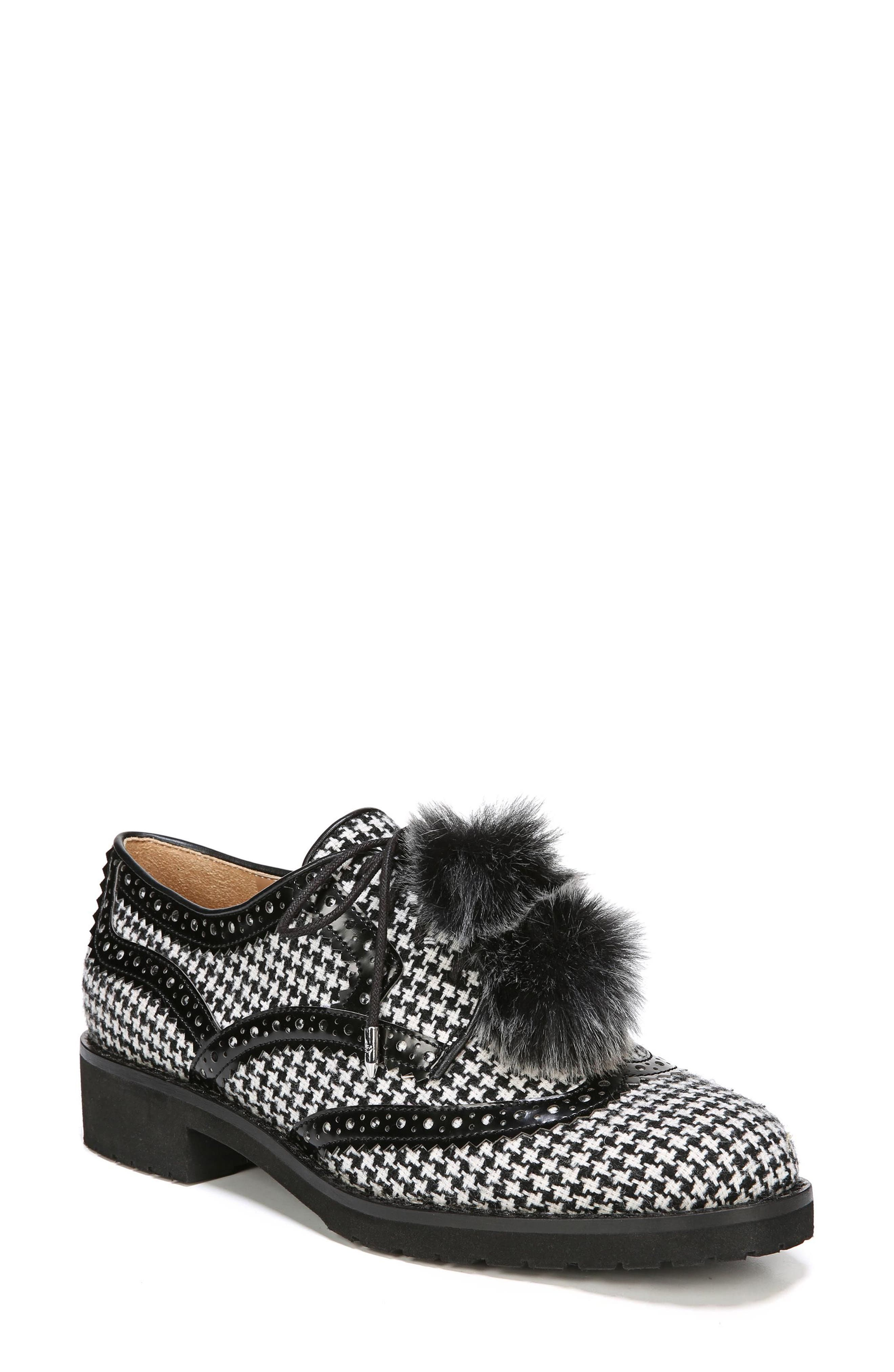 Dahl Oxford with Faux Fur Pompom,                         Main,                         color, Black/ White Houndstooth