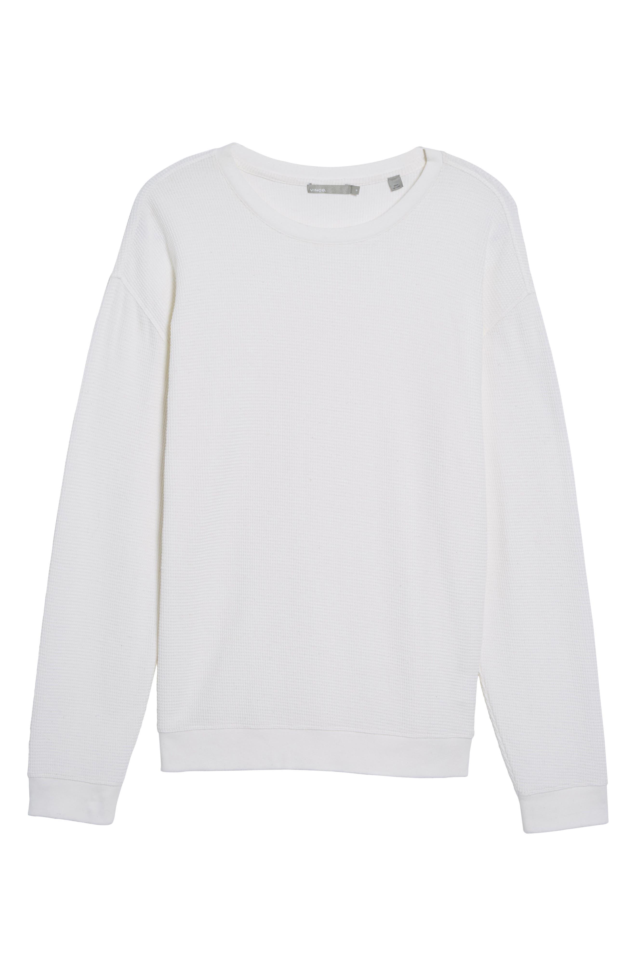 Waffle Knit Sweatshirt,                             Alternate thumbnail 7, color,                             White