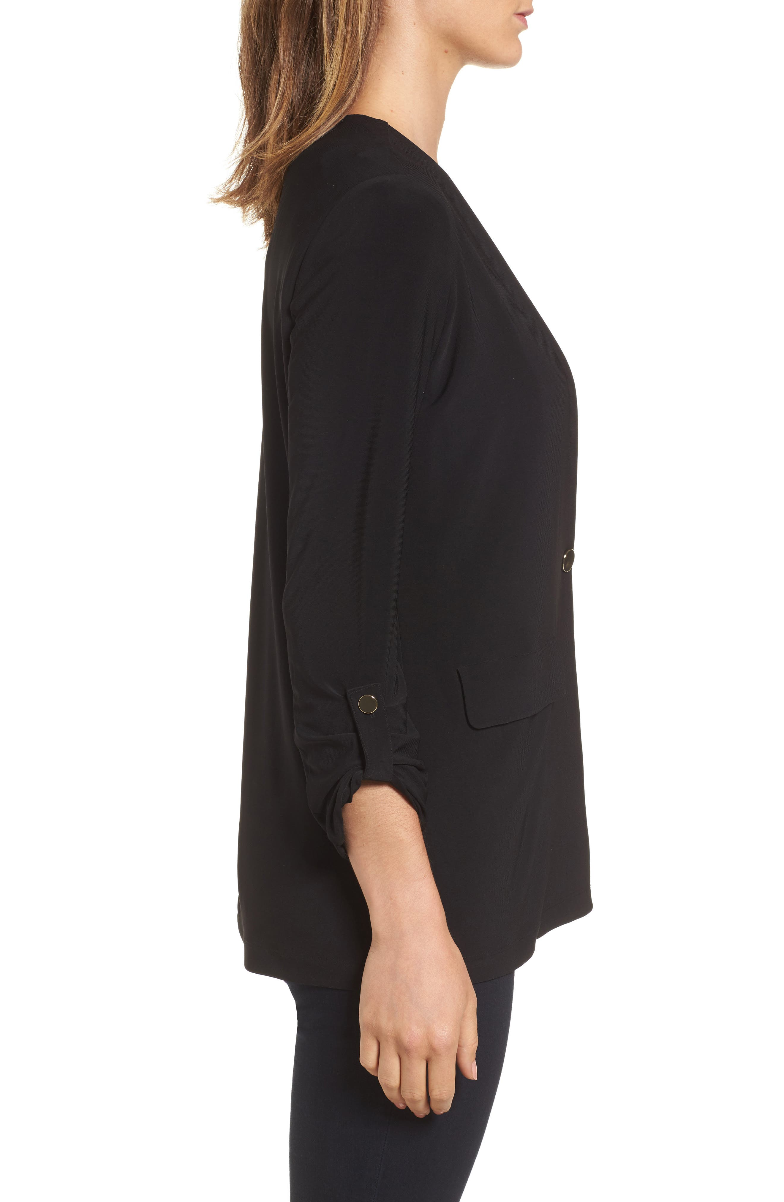 Roll Sleeve Jacket,                             Alternate thumbnail 3, color,                             Rich Black