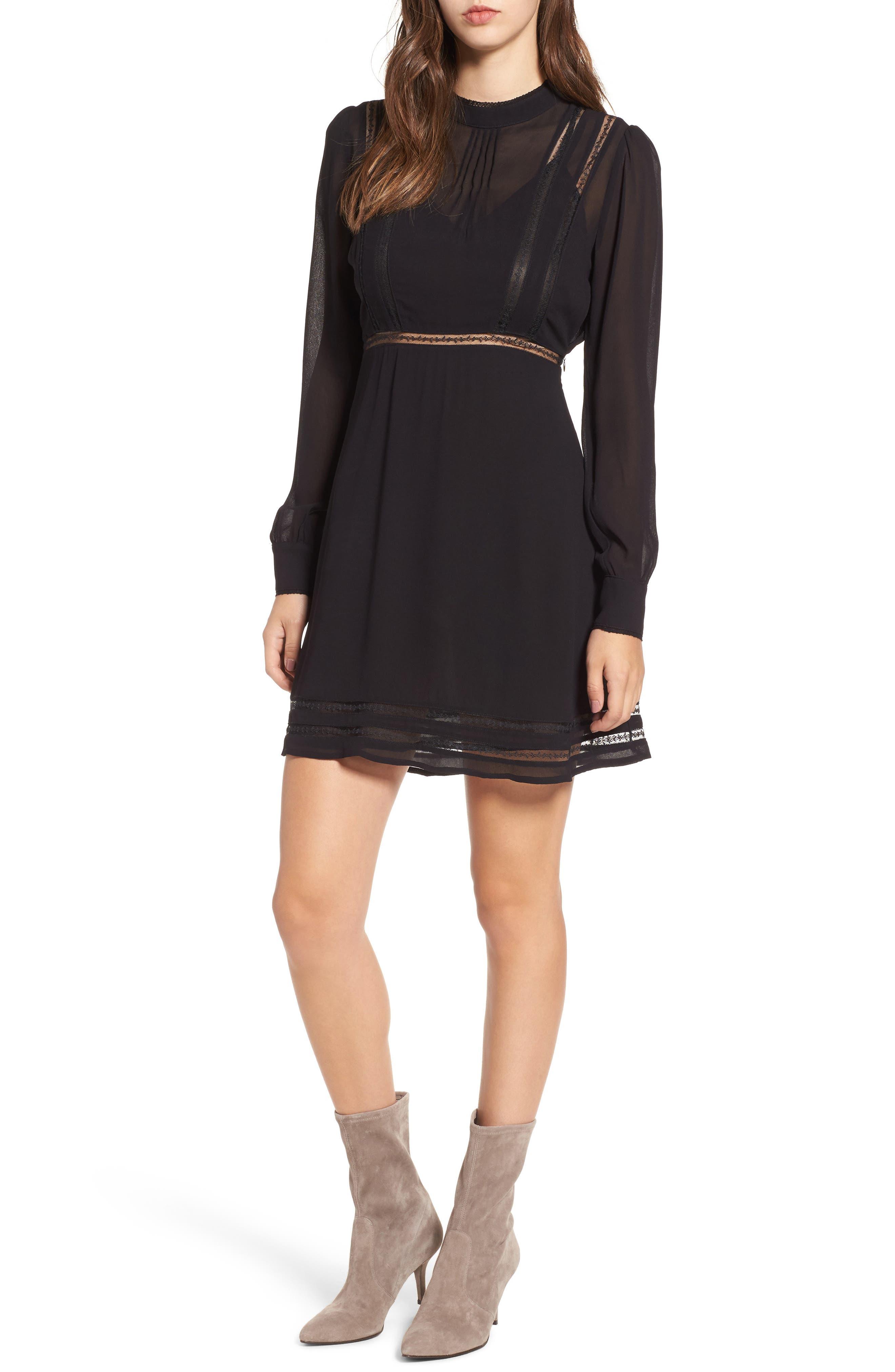 Kirsten A-Line Dress,                             Main thumbnail 1, color,                             Black