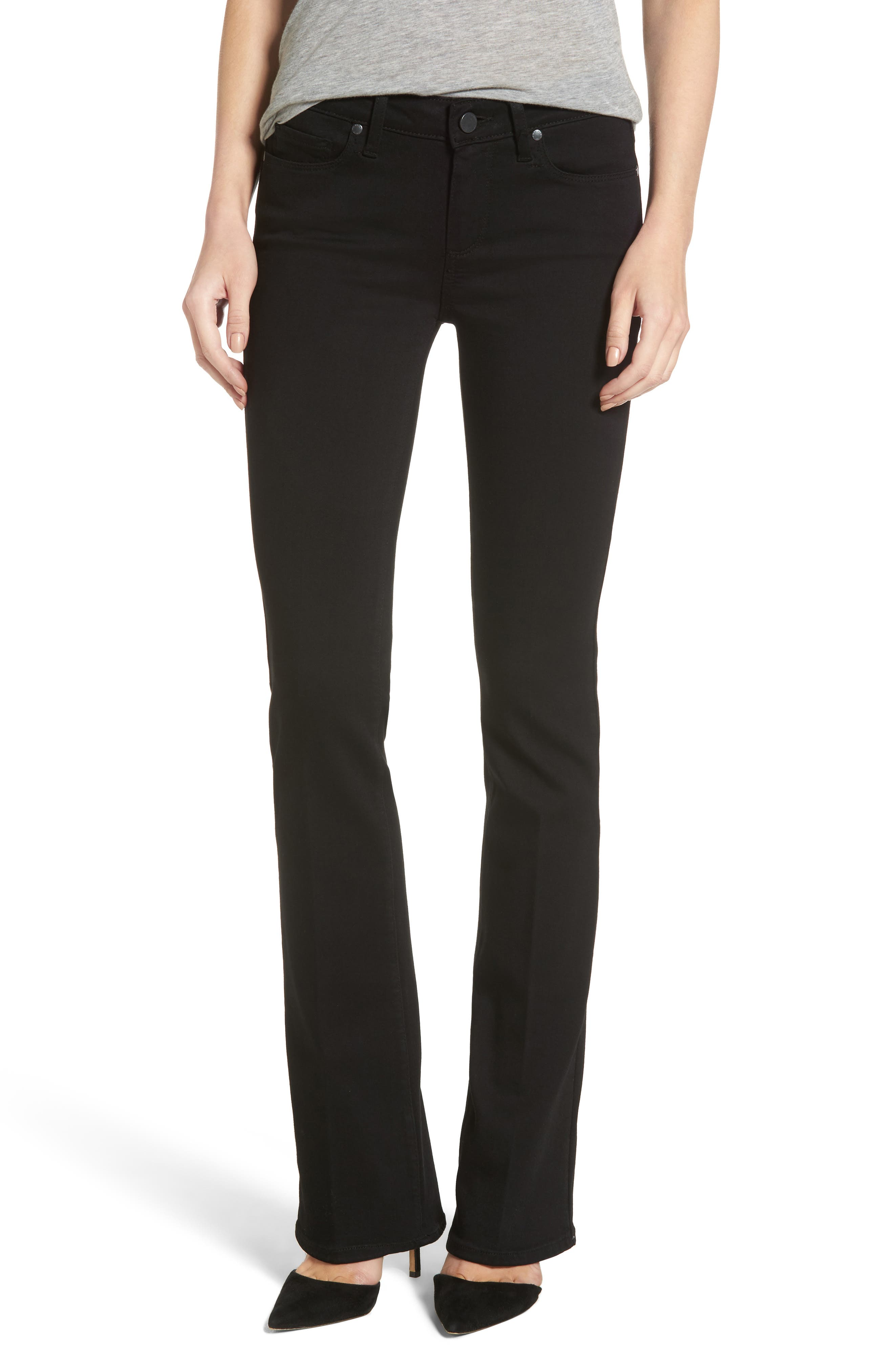 Main Image - PAIGE Transcend - Manhattan Bootcut Jeans (Black Shadow)