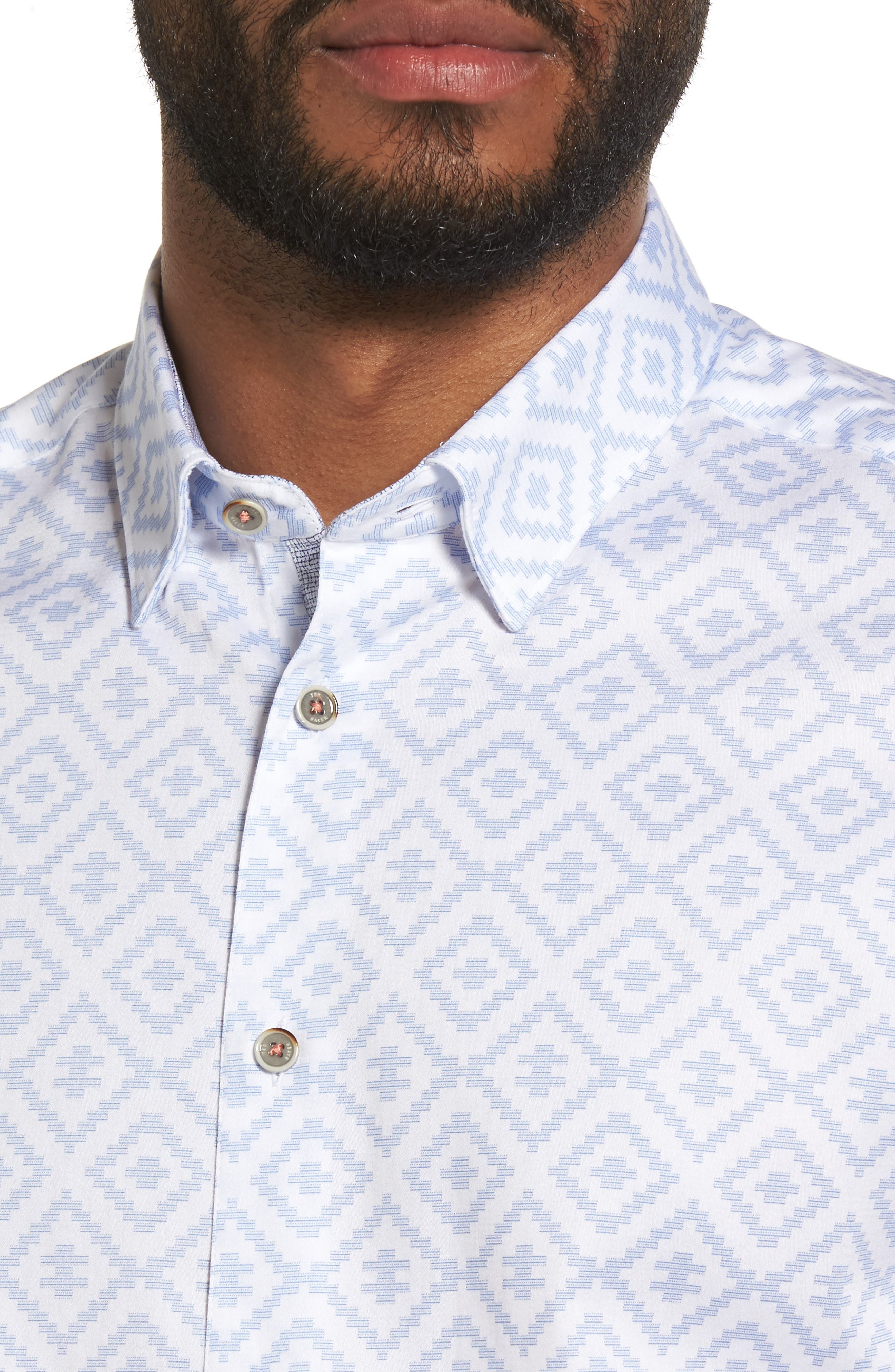 Almada Trim Fit Diamond Woven Shirt,                             Alternate thumbnail 4, color,                             Blue