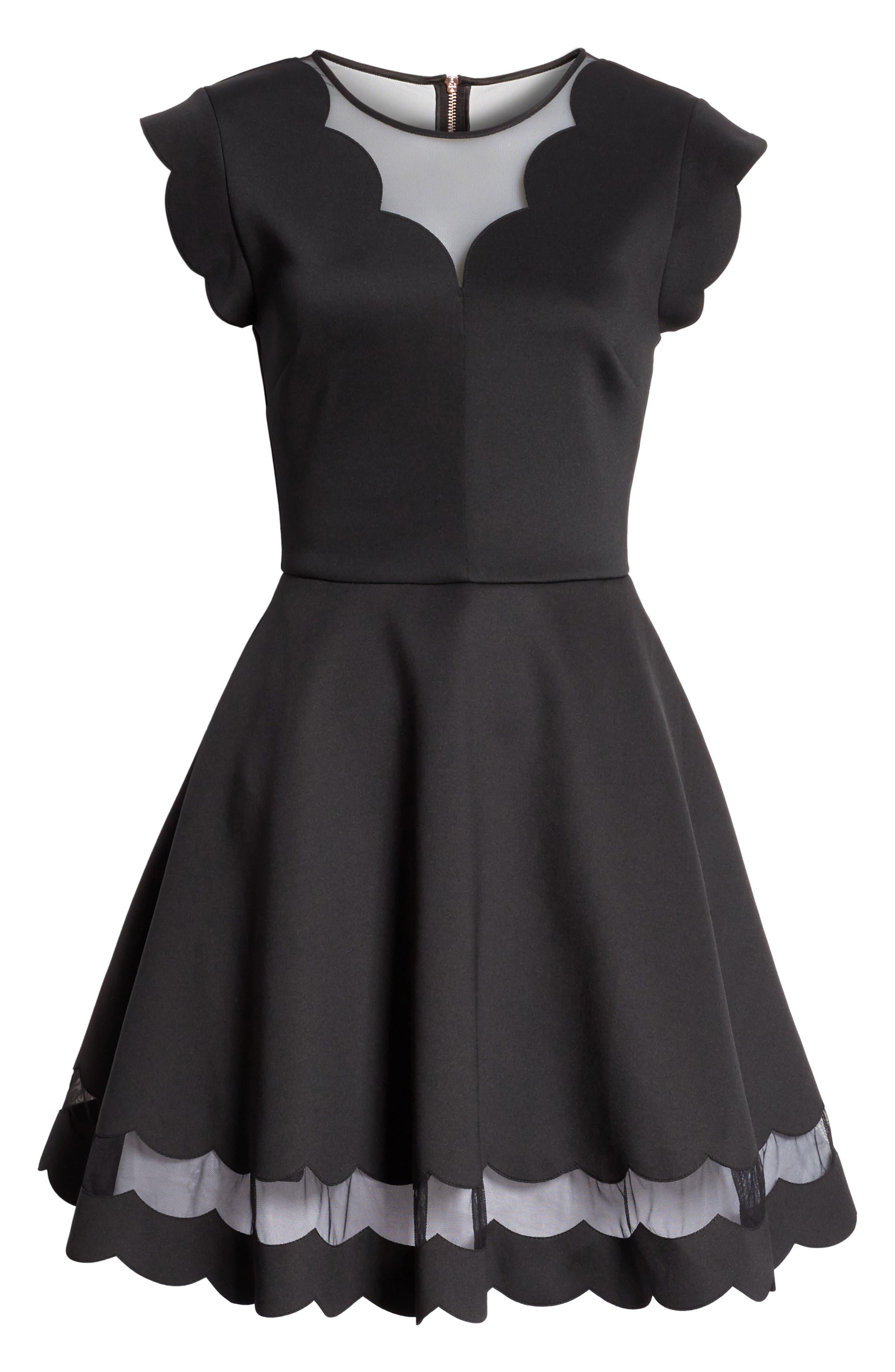 Mesh Panel Scallop Skater Dress,                             Alternate thumbnail 6, color,                             Black