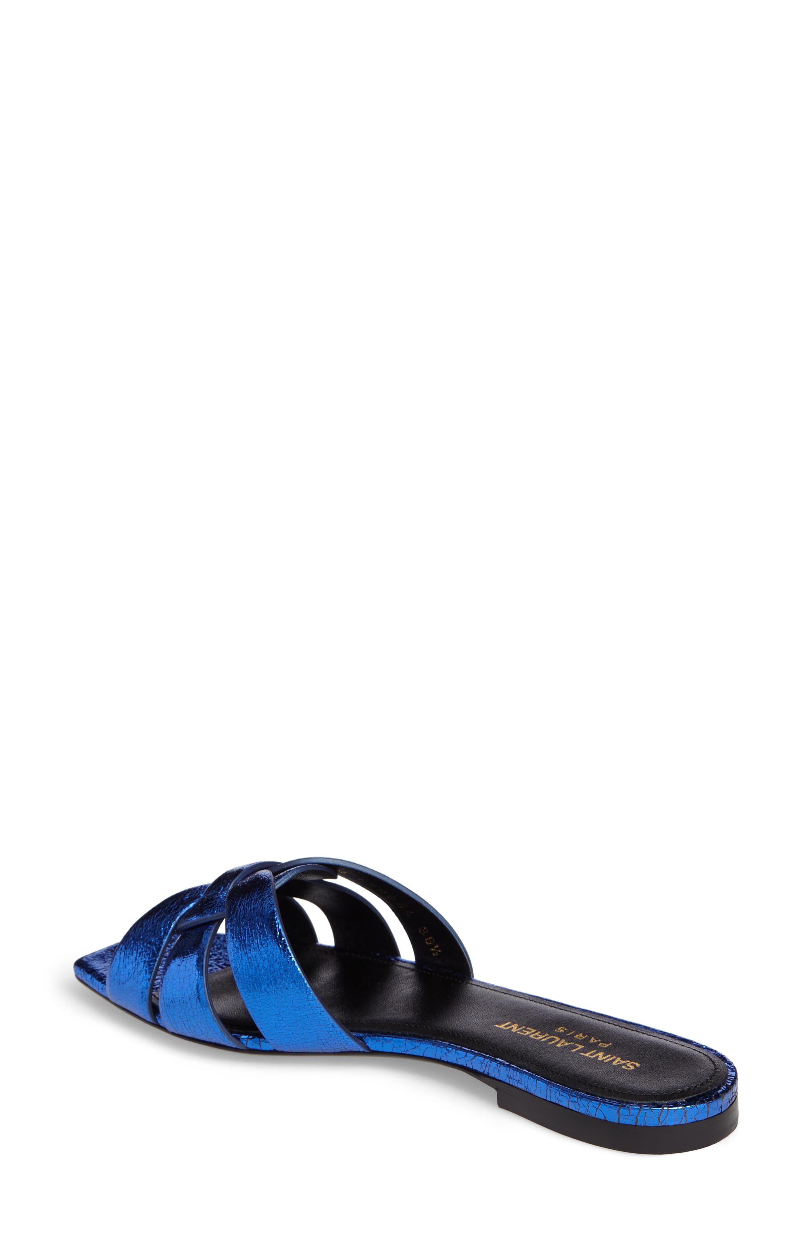 Pieds Metallic Slide Sandal,                             Alternate thumbnail 2, color,                             Blue Metal