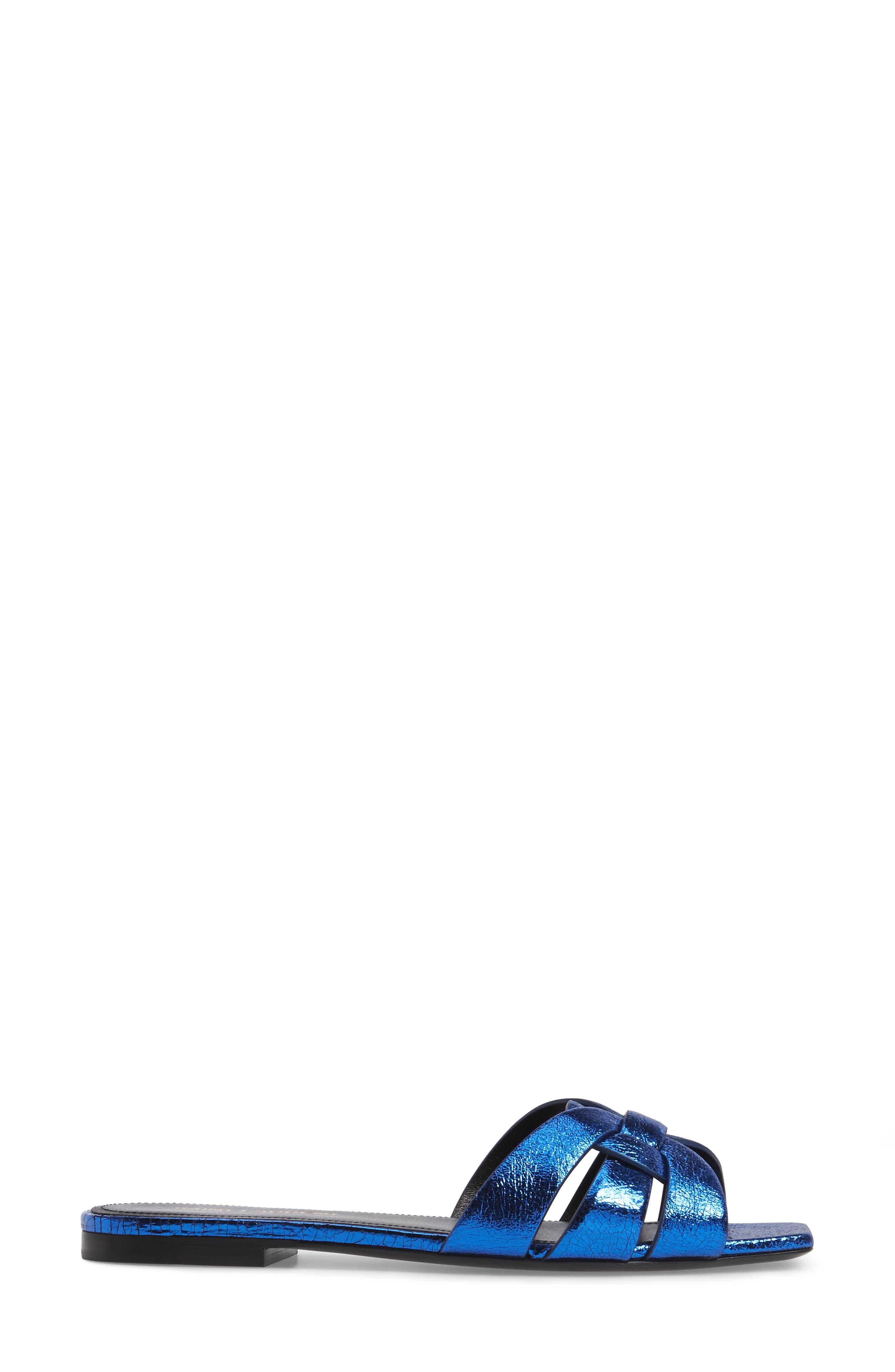 Pieds Metallic Slide Sandal,                             Alternate thumbnail 3, color,                             Blue Metal
