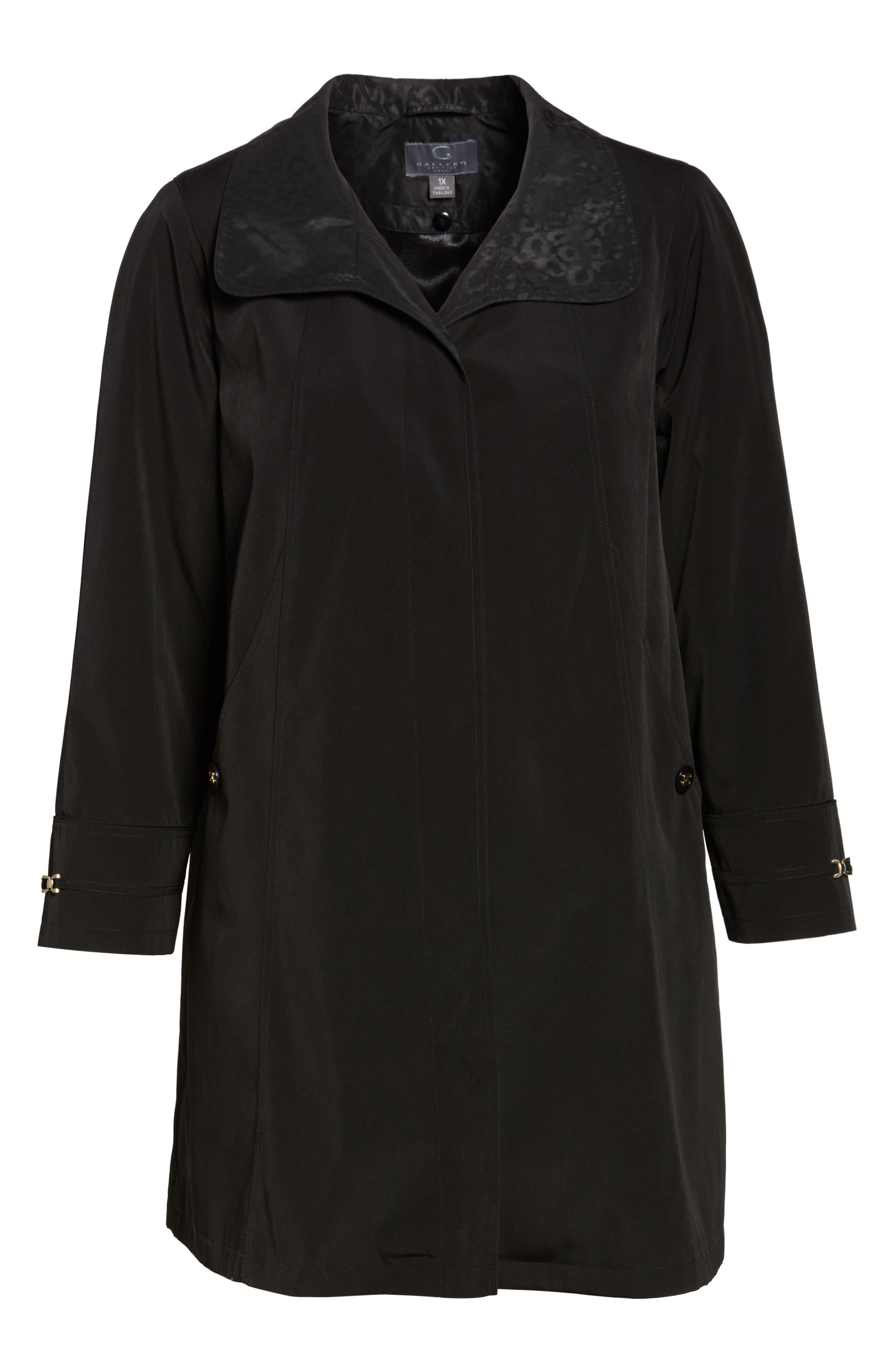 Alternate Image 6  - Gallery Long Silk Look Raincoat (Plus Size)