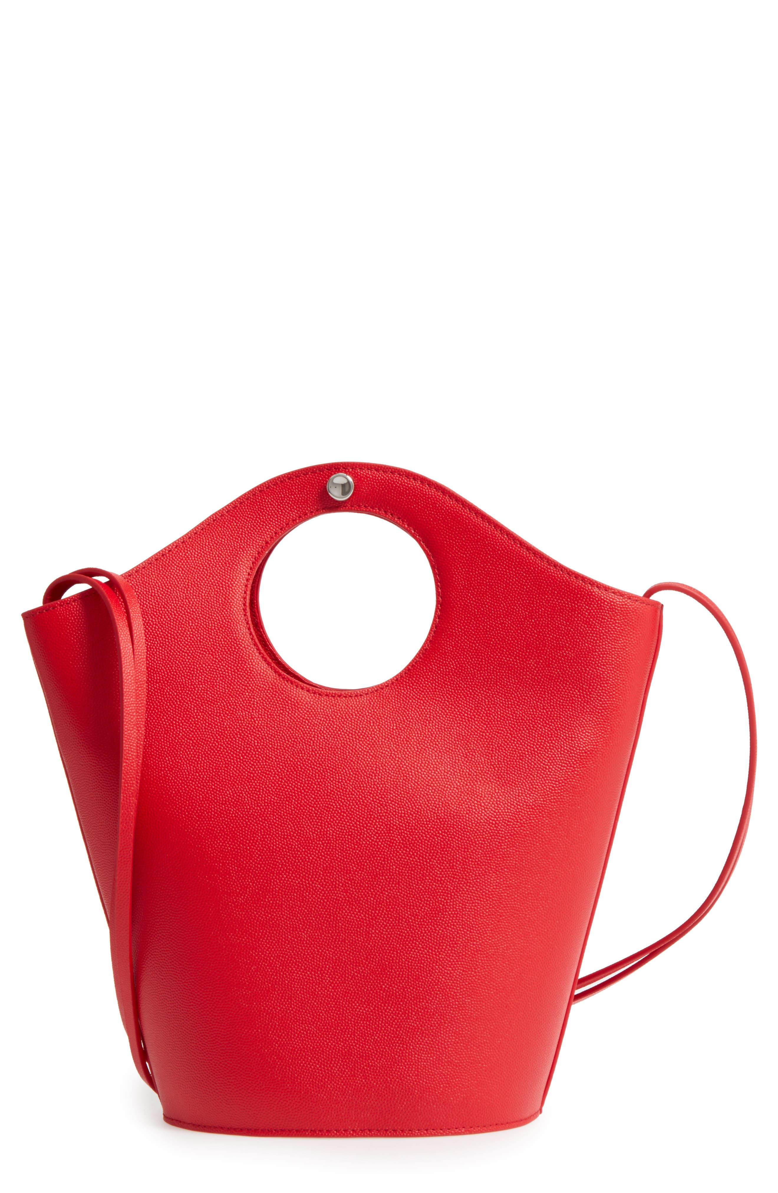 Small Market Leather Shopper,                             Main thumbnail 1, color,                             Red