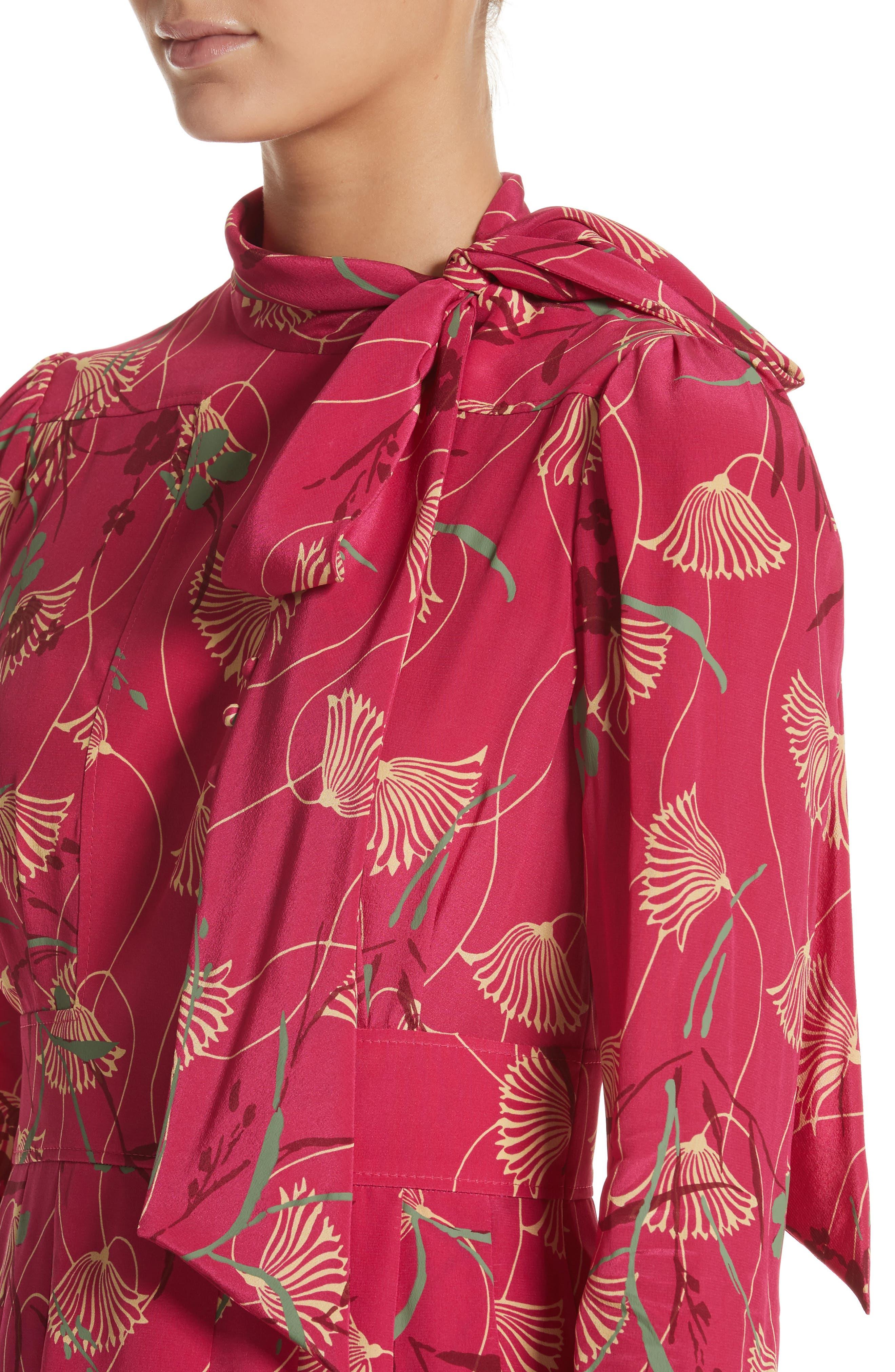 Lotus Print Silk Tie Neck Dress,                             Alternate thumbnail 4, color,                             Pink