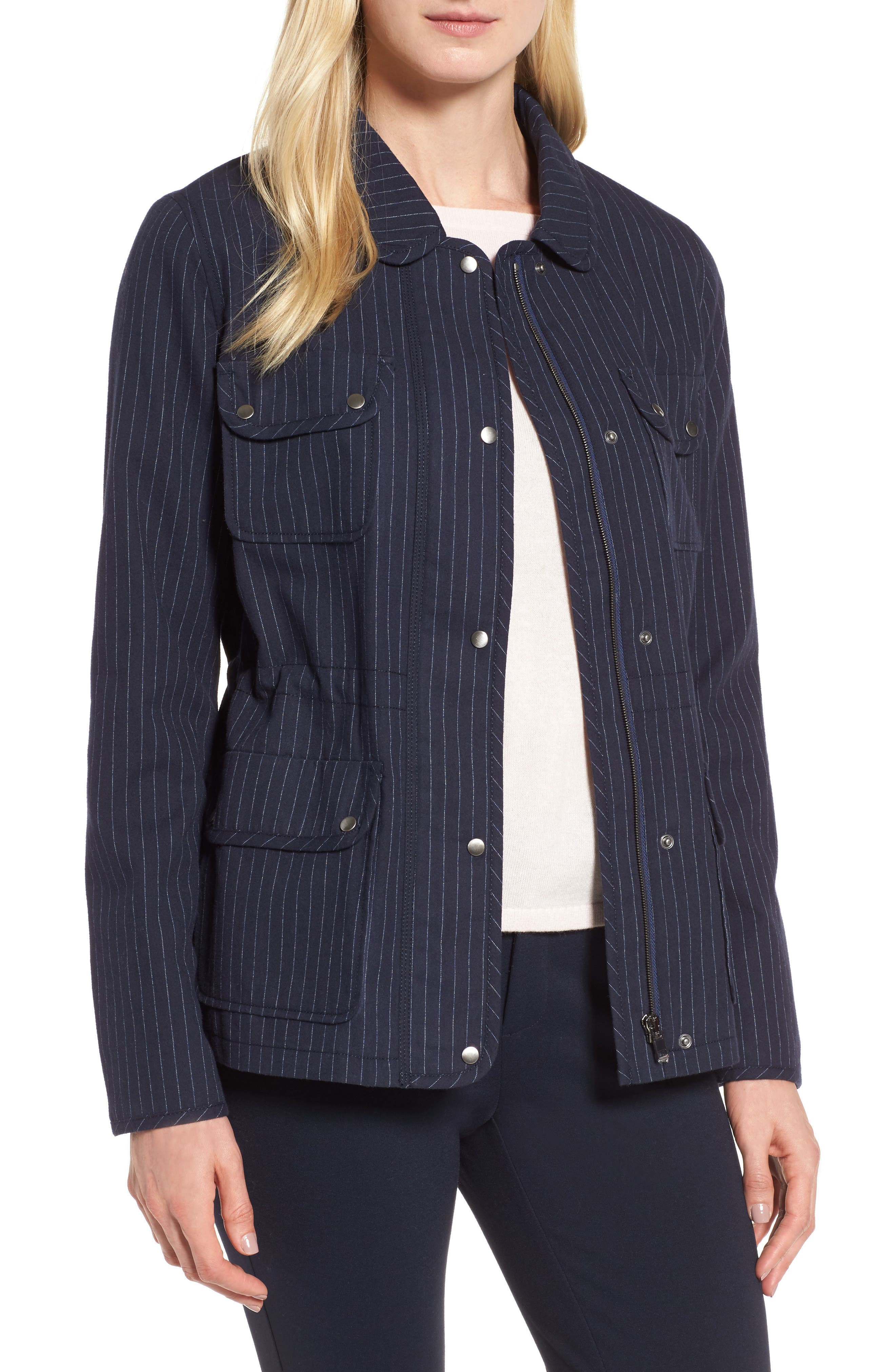 Pinstripe Utility Jacket,                             Main thumbnail 1, color,                             Navy- Ivory Pinstripe