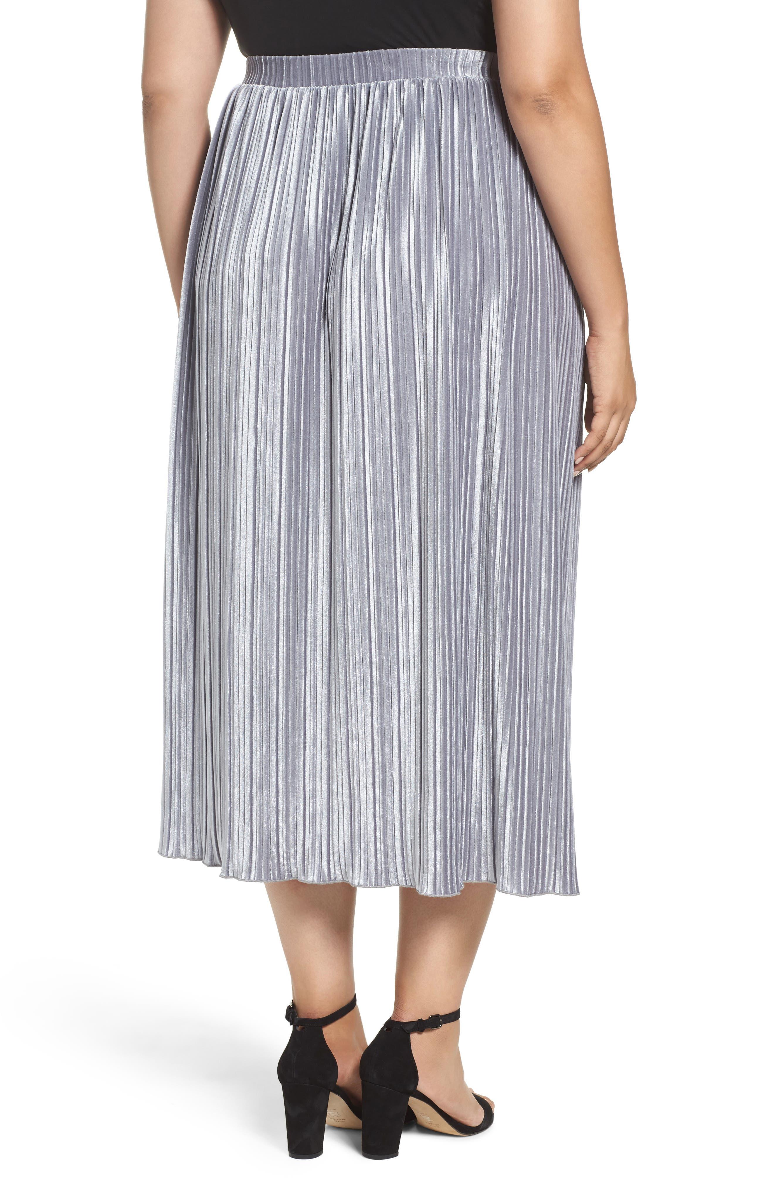 Pleat Velour Midi Skirt,                             Alternate thumbnail 3, color,                             Grey