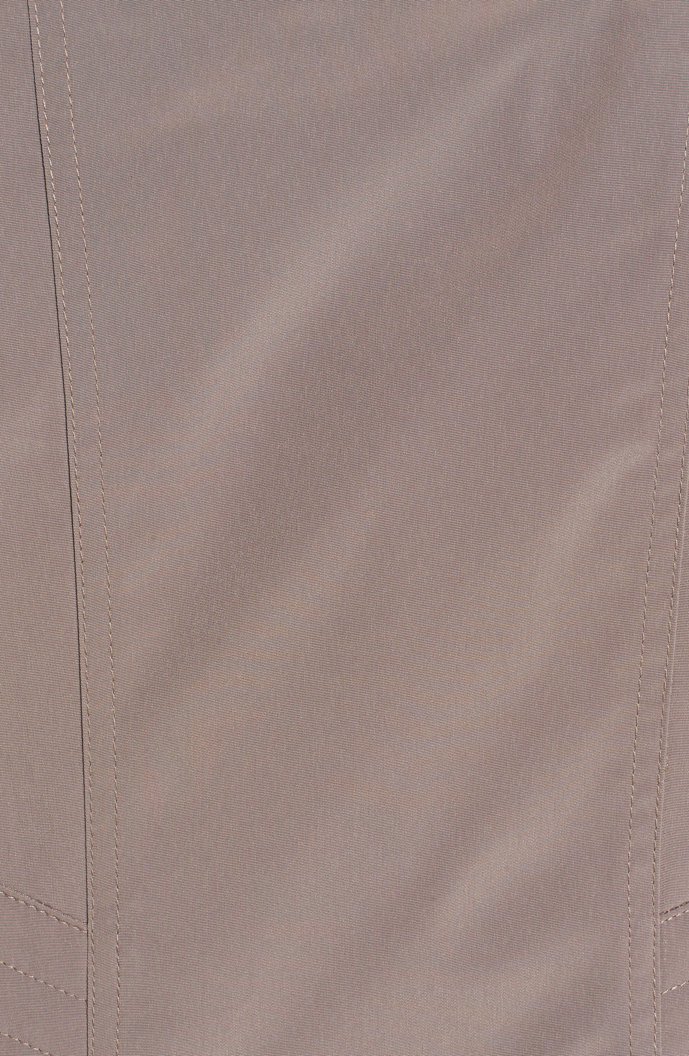 Alternate Image 5  - Gallery Two-Tone Long Silk Look Raincoat (Regular & Petite)