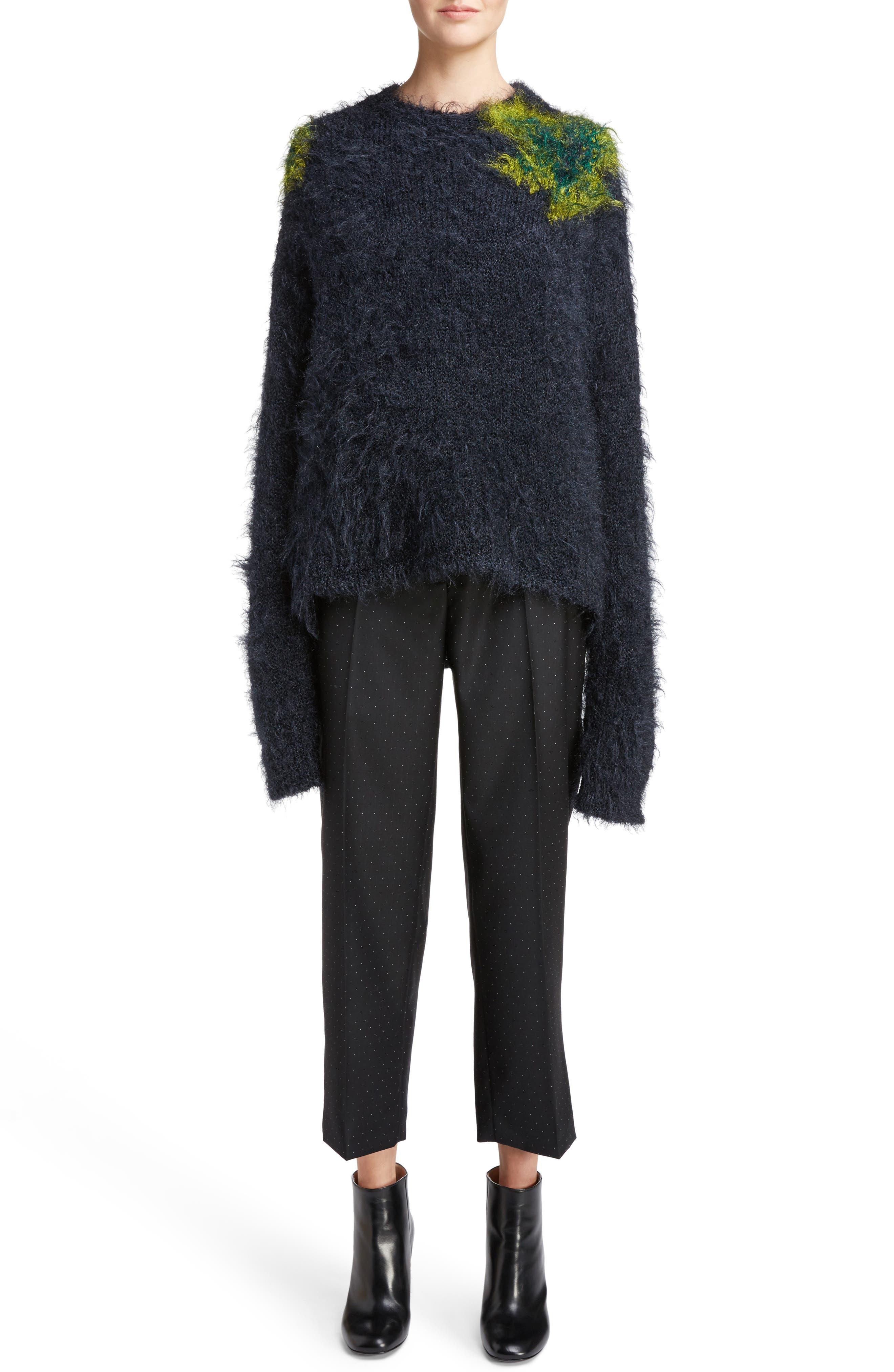 Fhira Hairy Oversize Sweater,                         Main,                         color, Dark Navy Combo