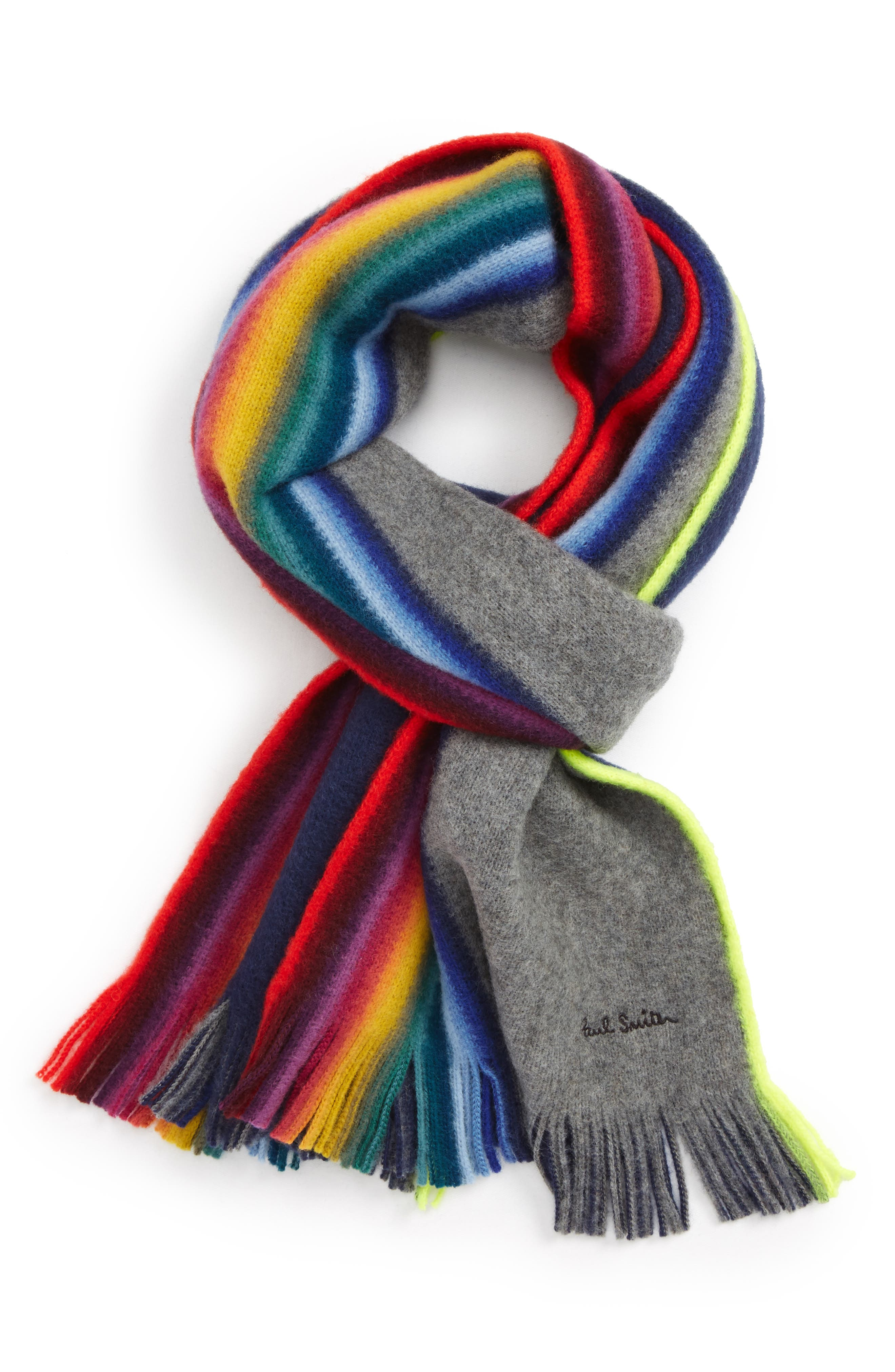 Rainbow Edge Wool Scarf,                             Main thumbnail 1, color,                             Grey