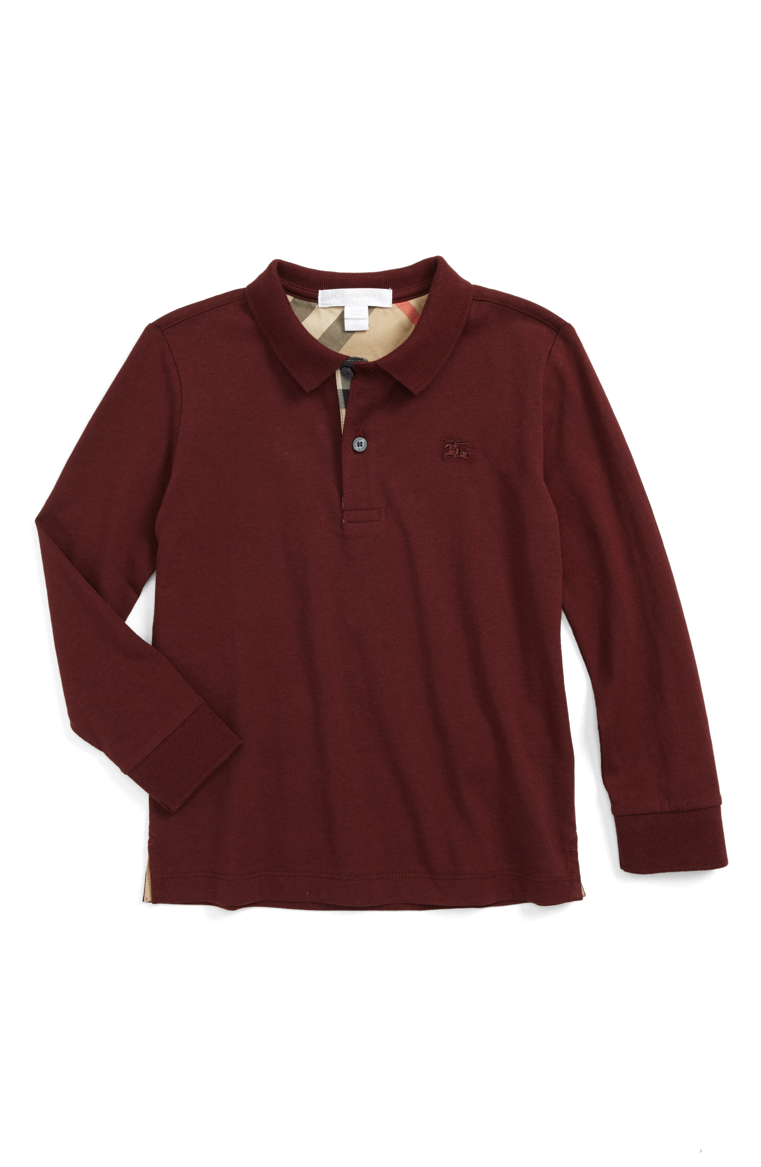 'Mini' Long Sleeve Polo Shirt,                             Main thumbnail 1, color,                             Oxblood