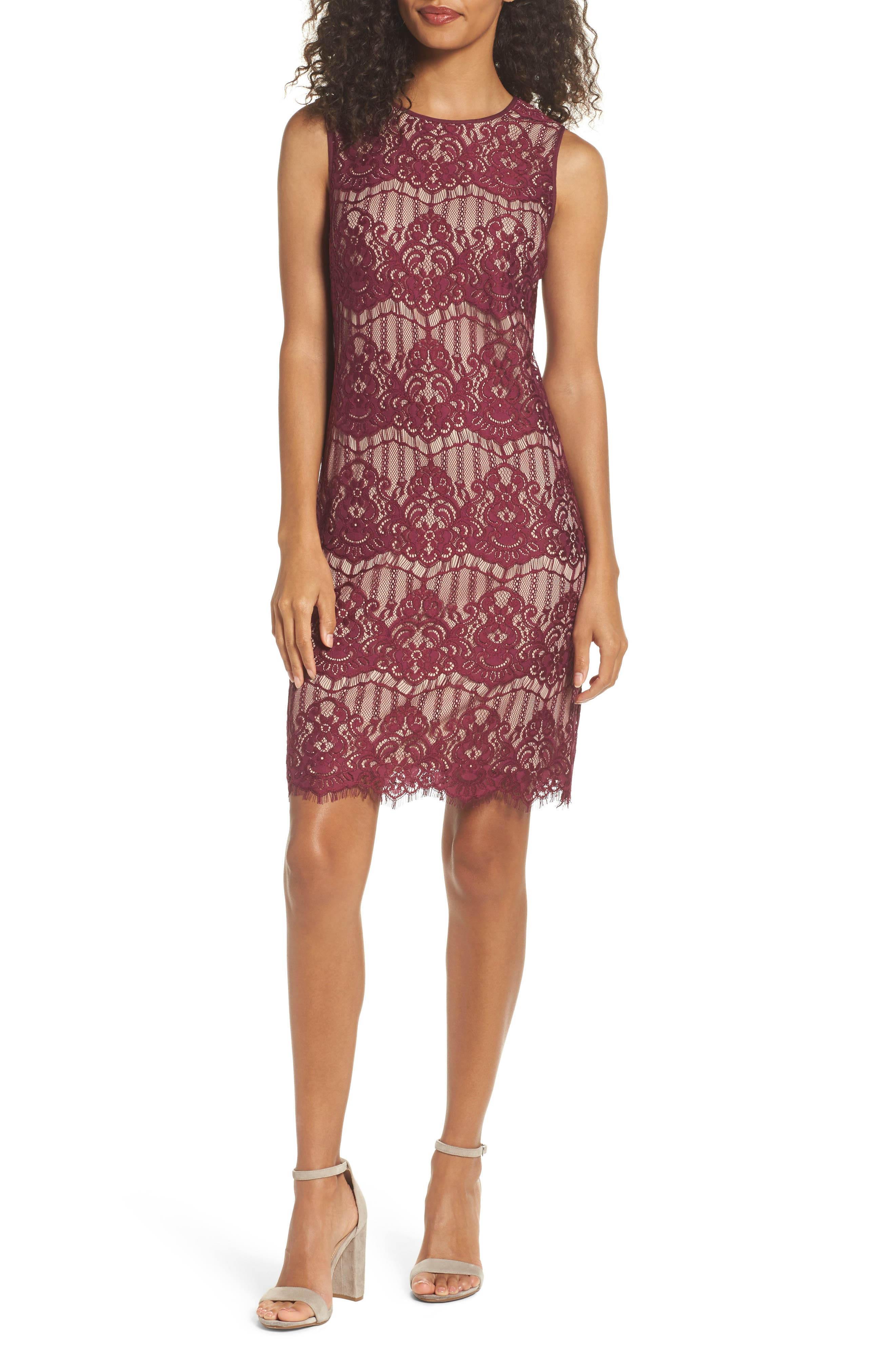 Scalloped Lace Sheath Dress,                             Main thumbnail 1, color,                             Burgundy