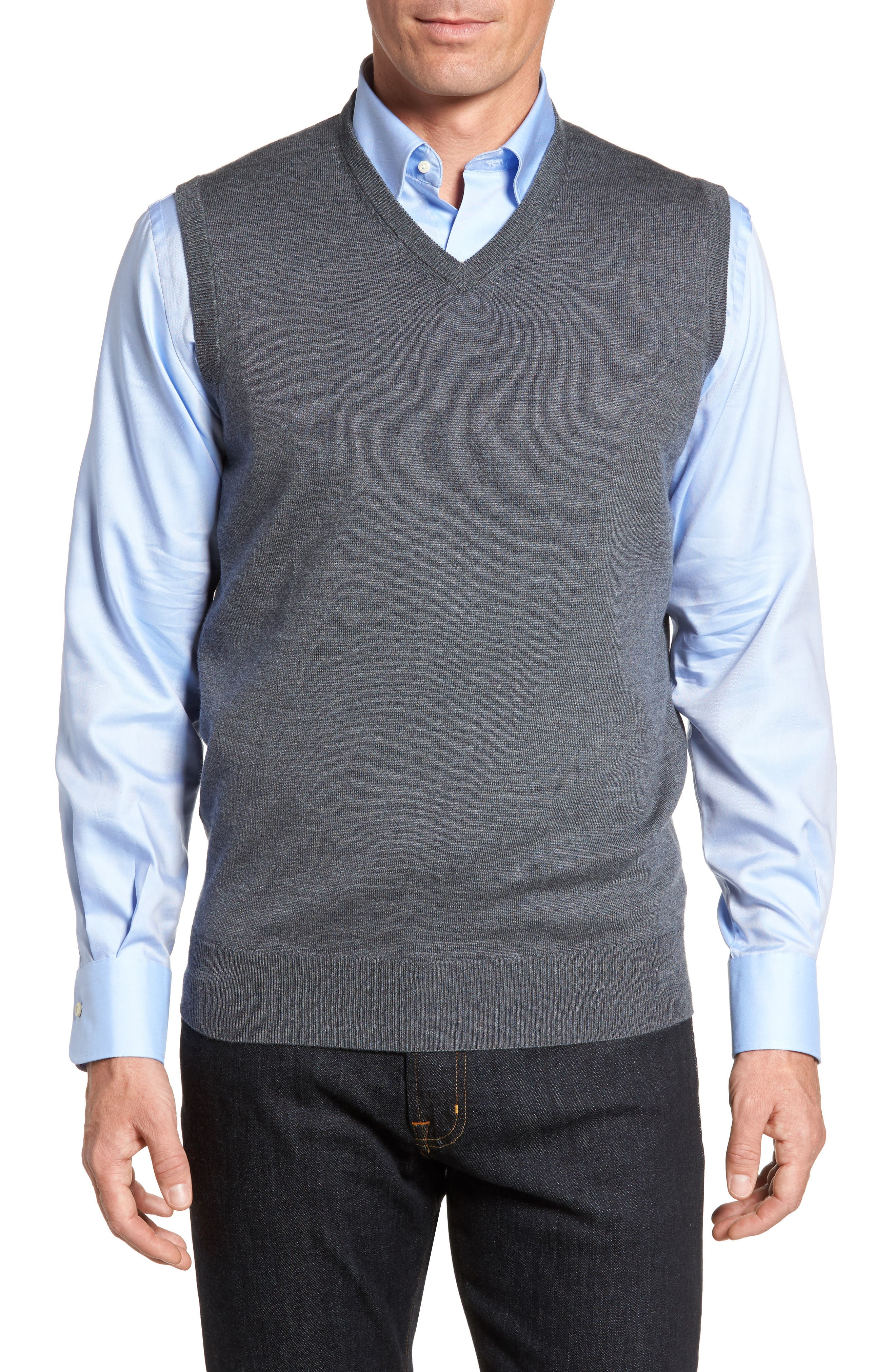 Crown Merino Blend Knit Vest,                             Main thumbnail 1, color,                             Charcoal
