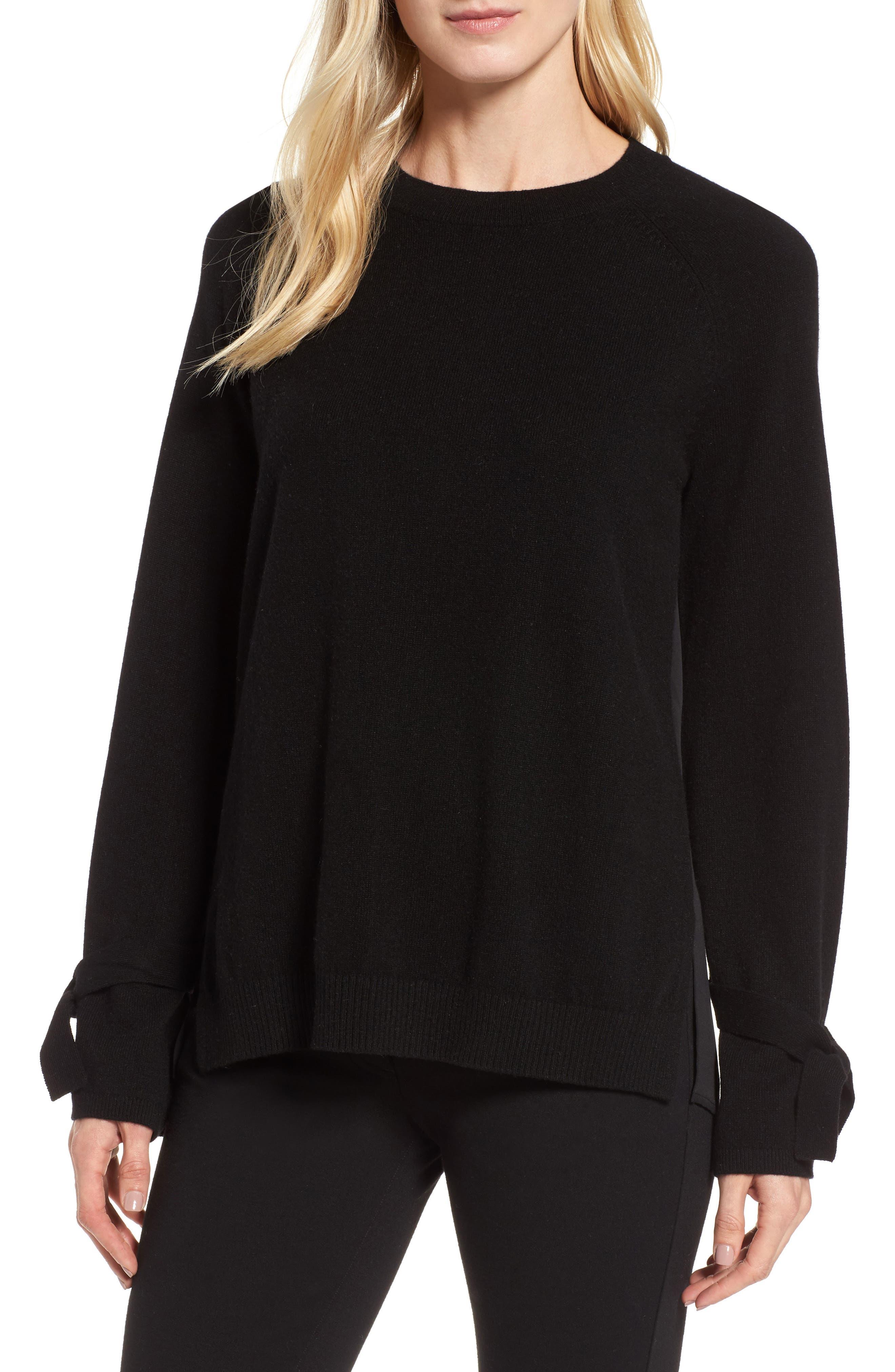 Cashmere & Stretch Silk Pullover,                         Main,                         color, Black