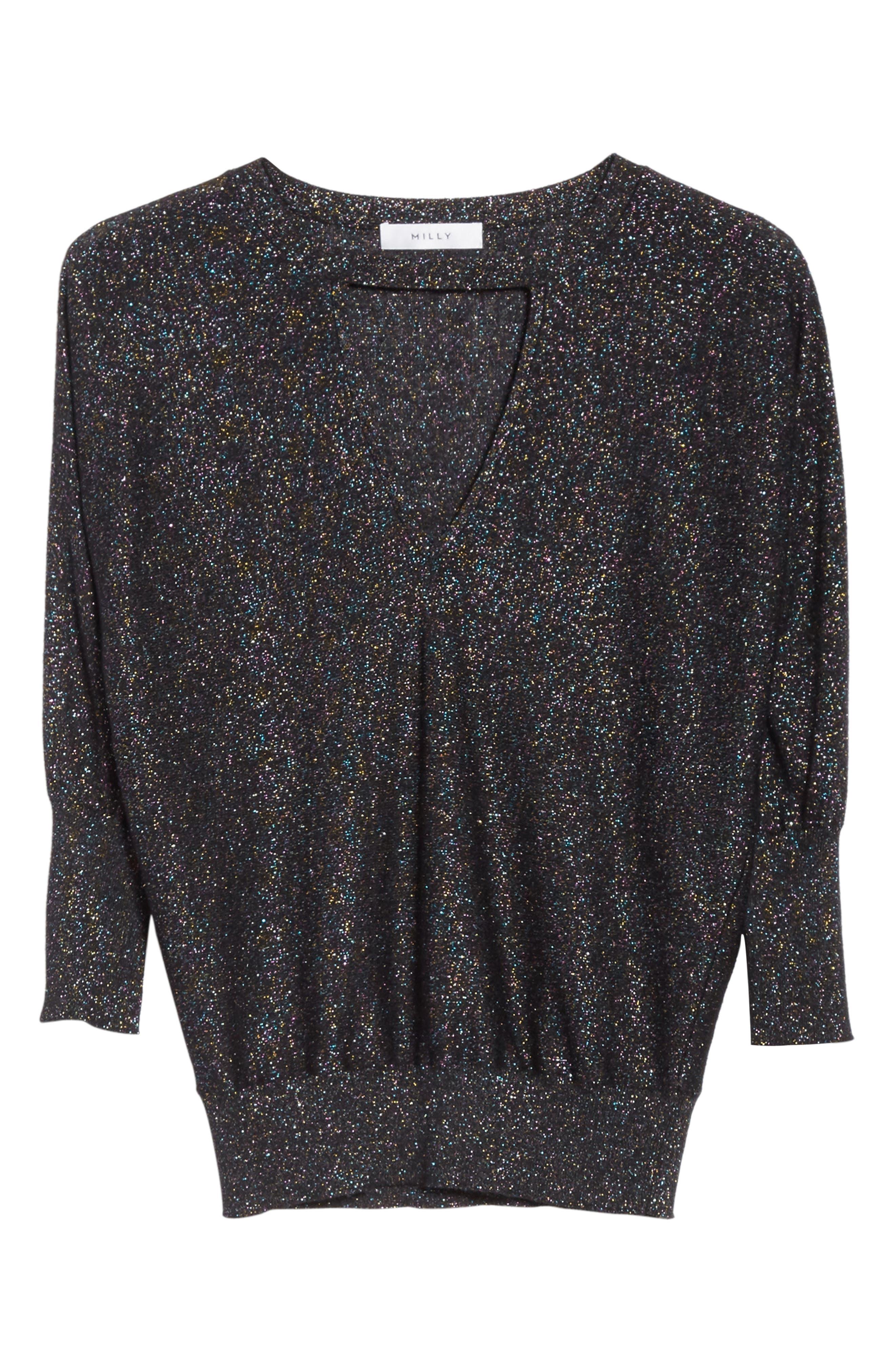 Alternate Image 6  - Milly Metallic Knit Choker Neck Sweater
