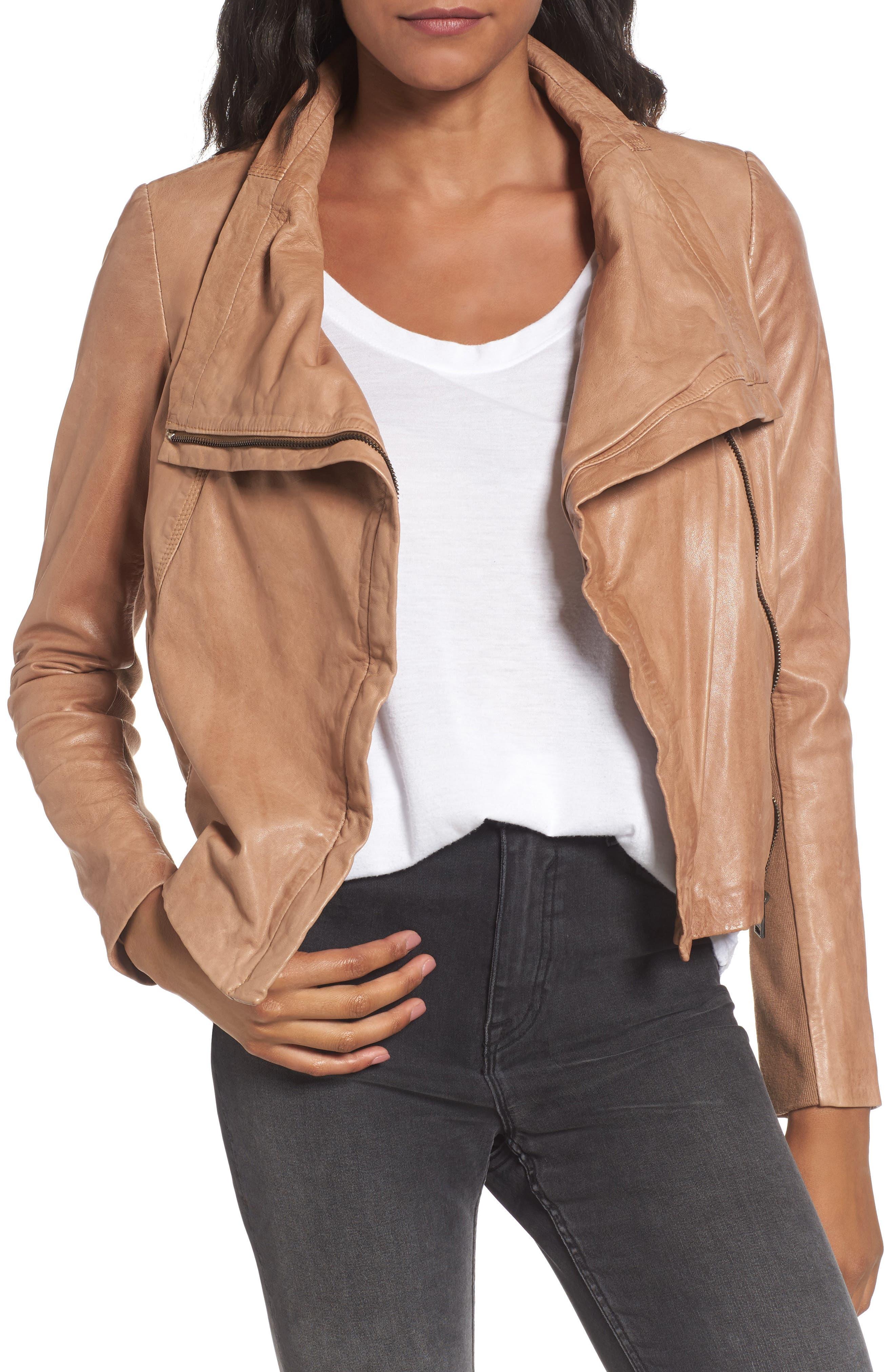 Funnel Neck Moto Jacket,                         Main,                         color, Caramel