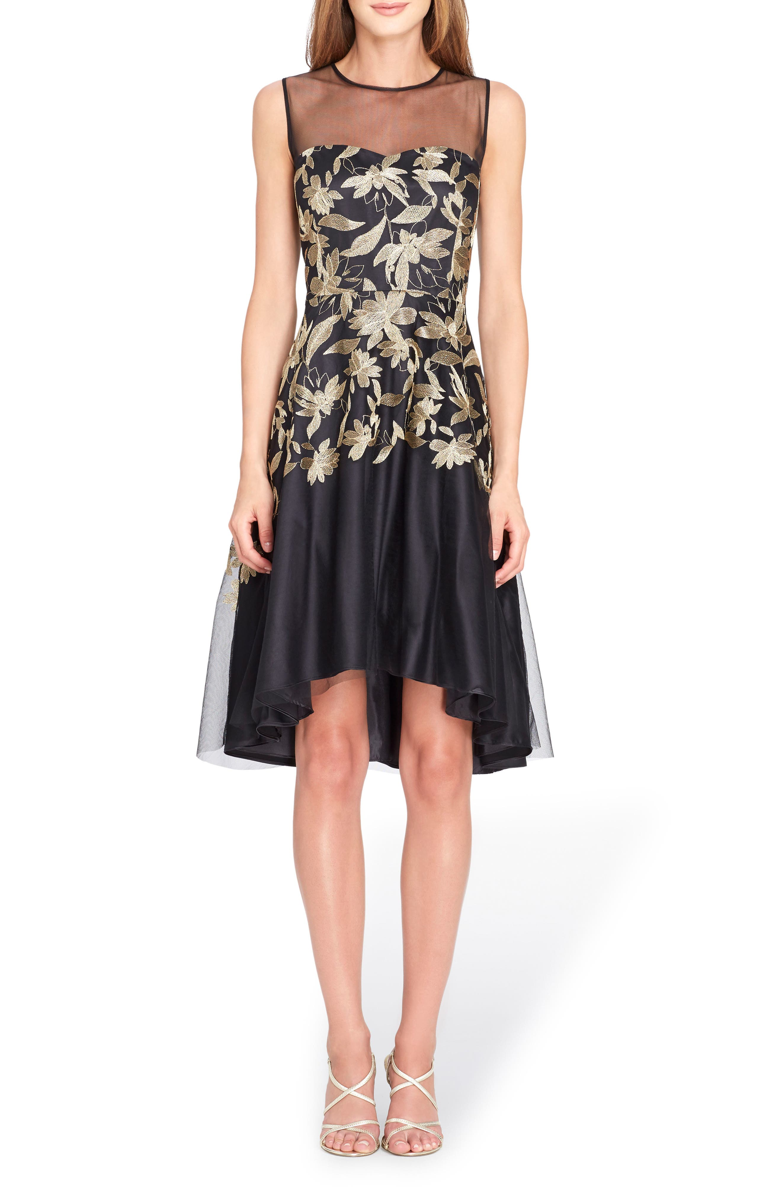 Embroidered Fit & Flare Dress,                         Main,                         color, Black/ Gold